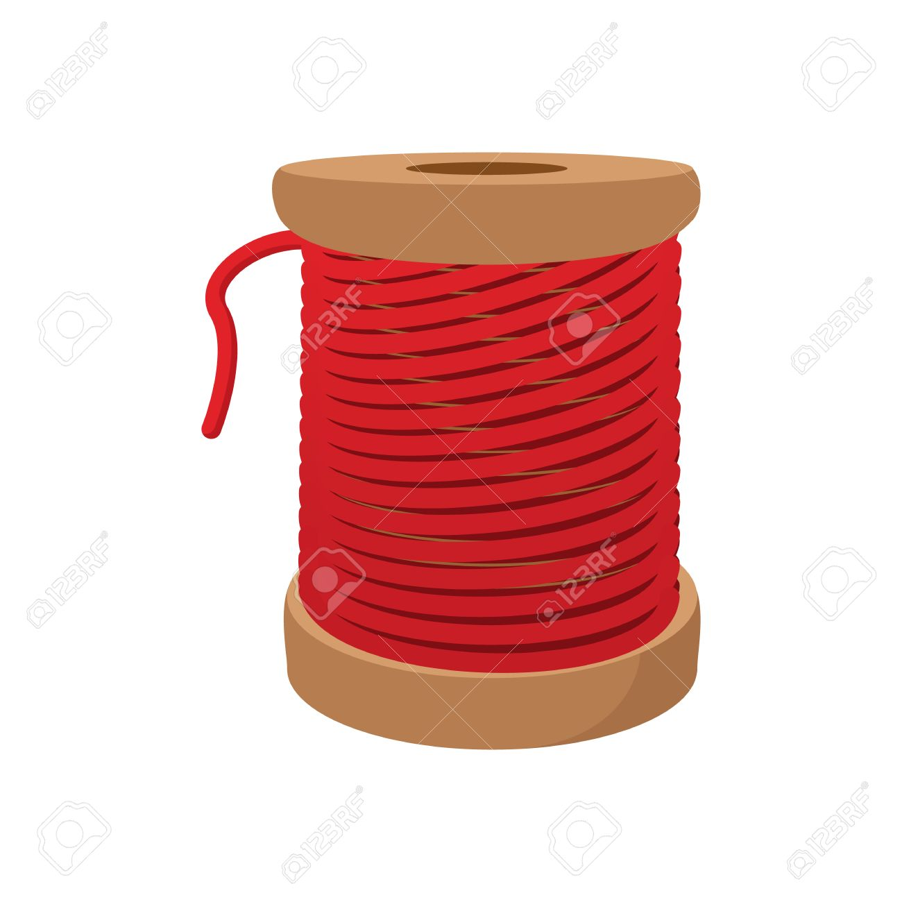 Spool Of Red Thread For Sewing Cartoon Icon On A White Background ...