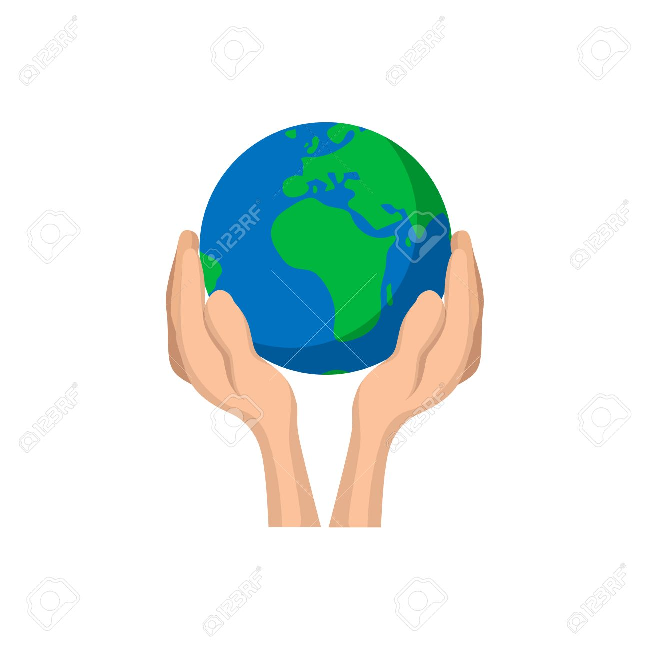 Hands Holding Globe Cartoon Icon Save Earth Concept Symbol On