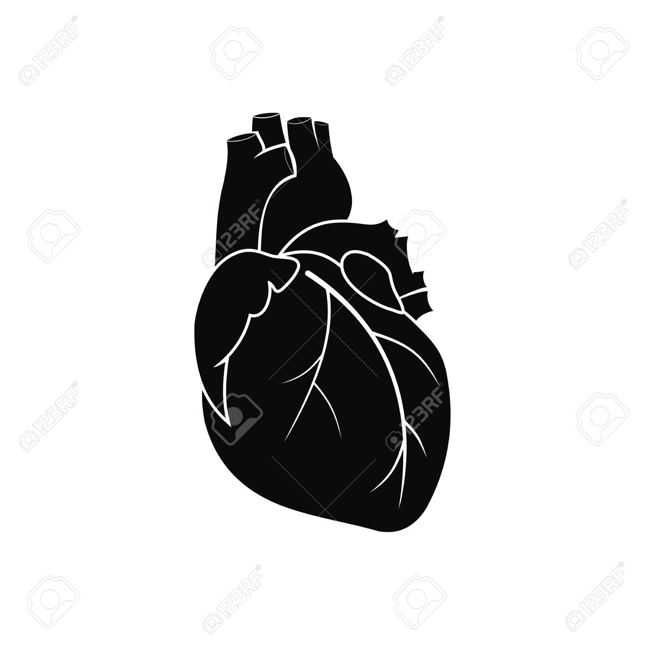 Human heart black simple icon isolated on white background - 51642833