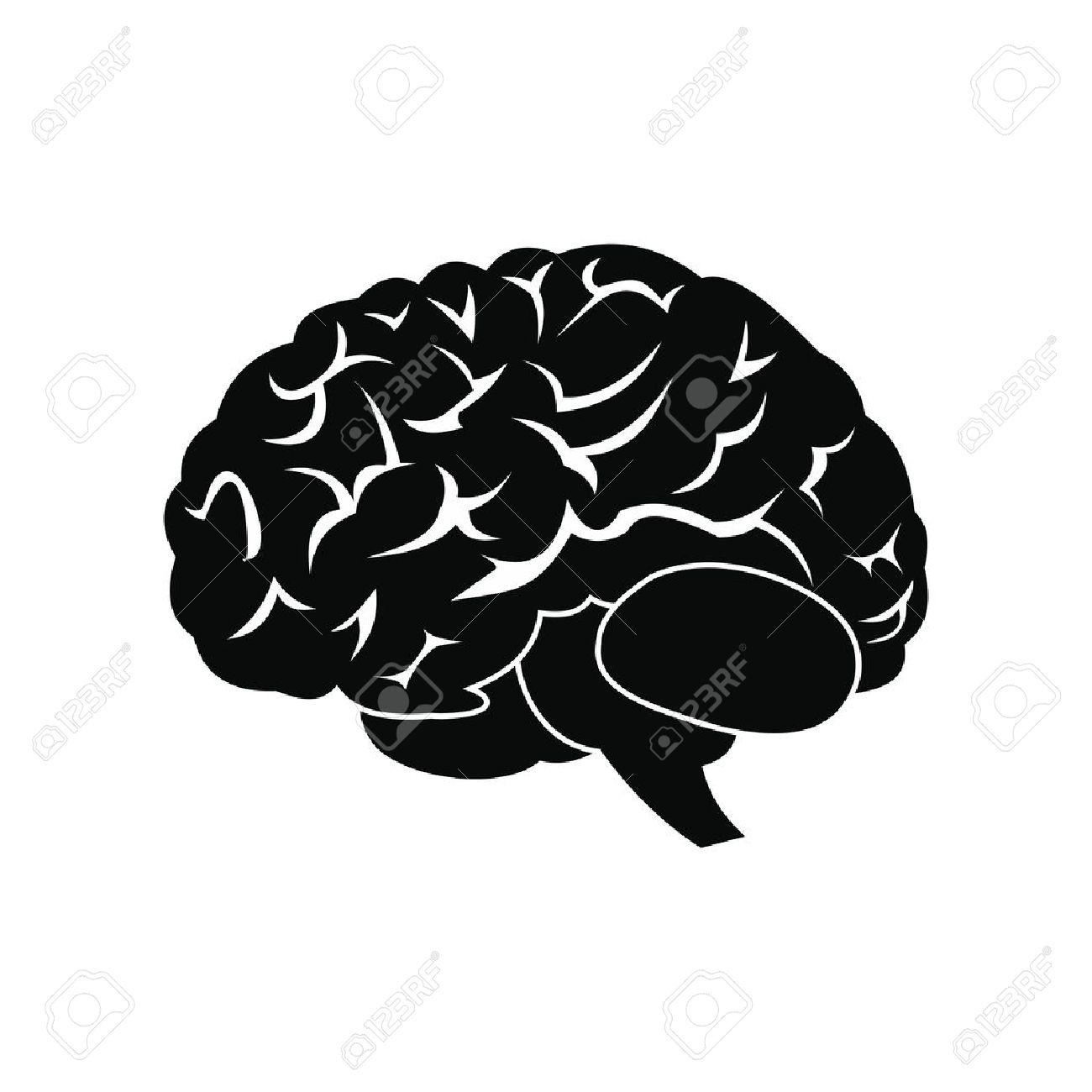 Cerveau humain noir simple icône isolé sur fond blanc Banque d'images - 51642835