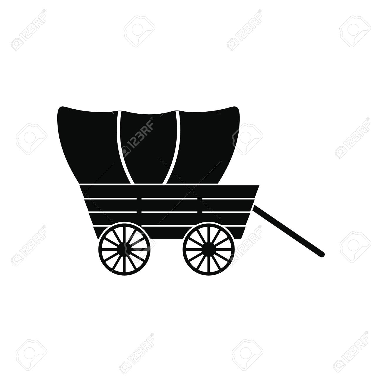 Western Covered Wagon Black Simple Icon Isolated On White Background ...