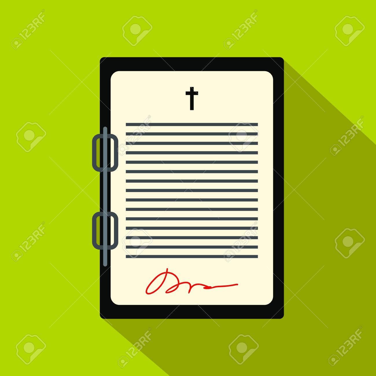 Carta Testamento Icono Plana. Hoja De Papel Con Última Voluntad De ...