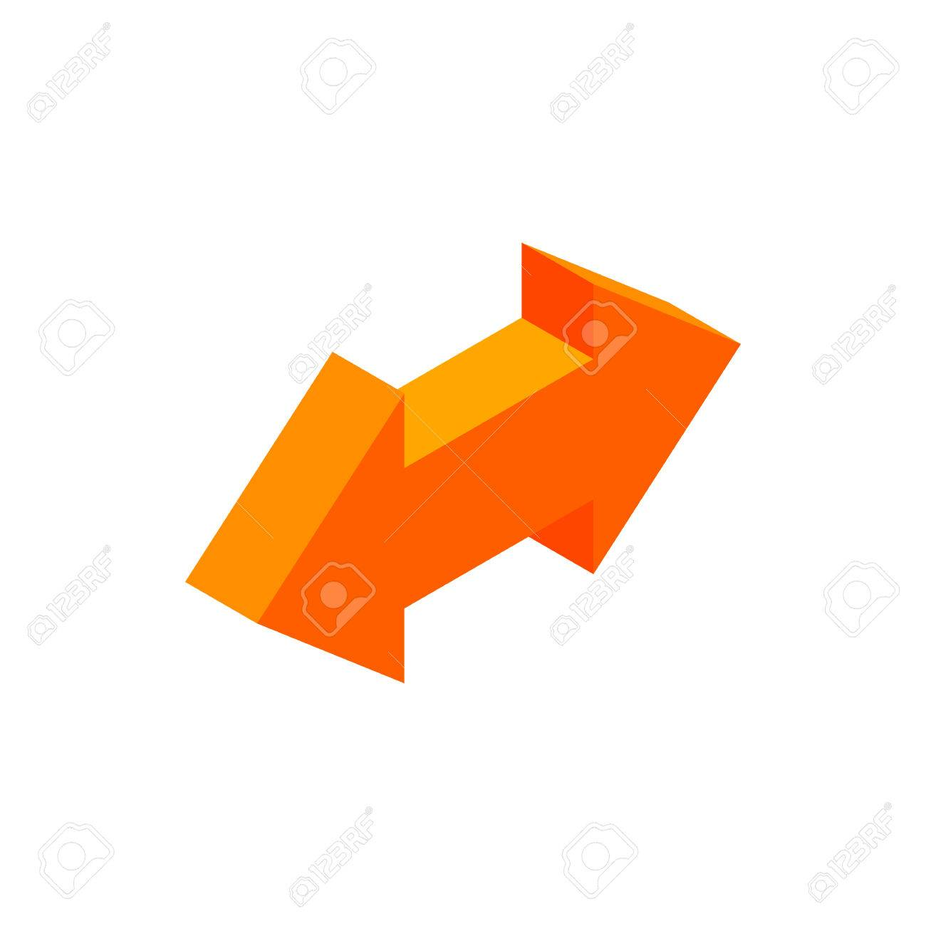Two Way Arrow Isometric 3d Icon On A White Background Royalty Free