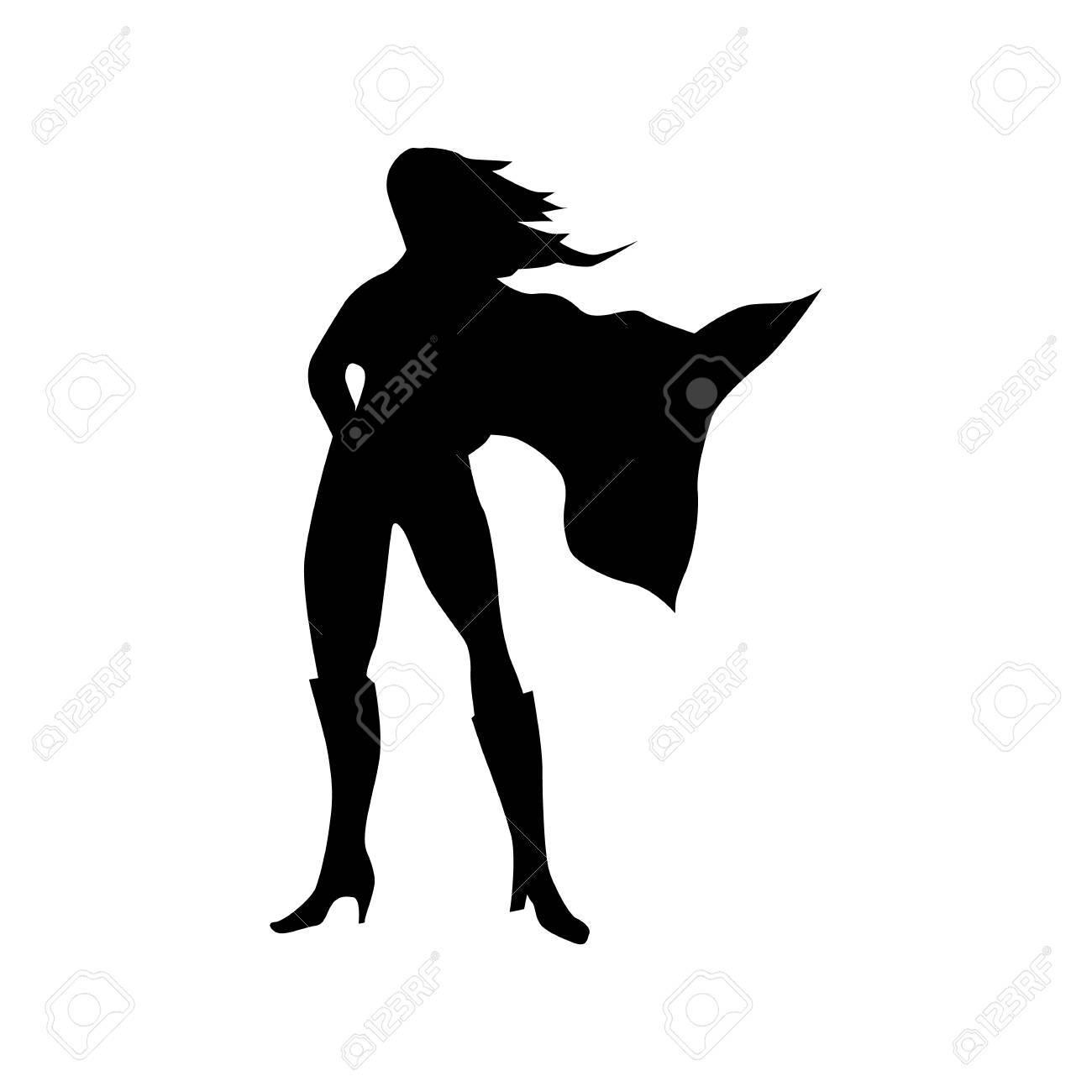 Superhero woman silhouette isolated on white background - 52008446