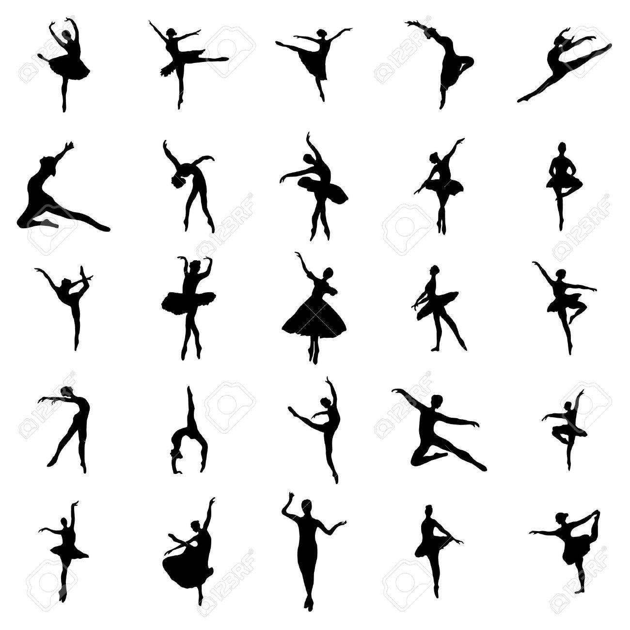 silhouettes Ballerina set isolé sur fond blanc Banque d'images - 52008944