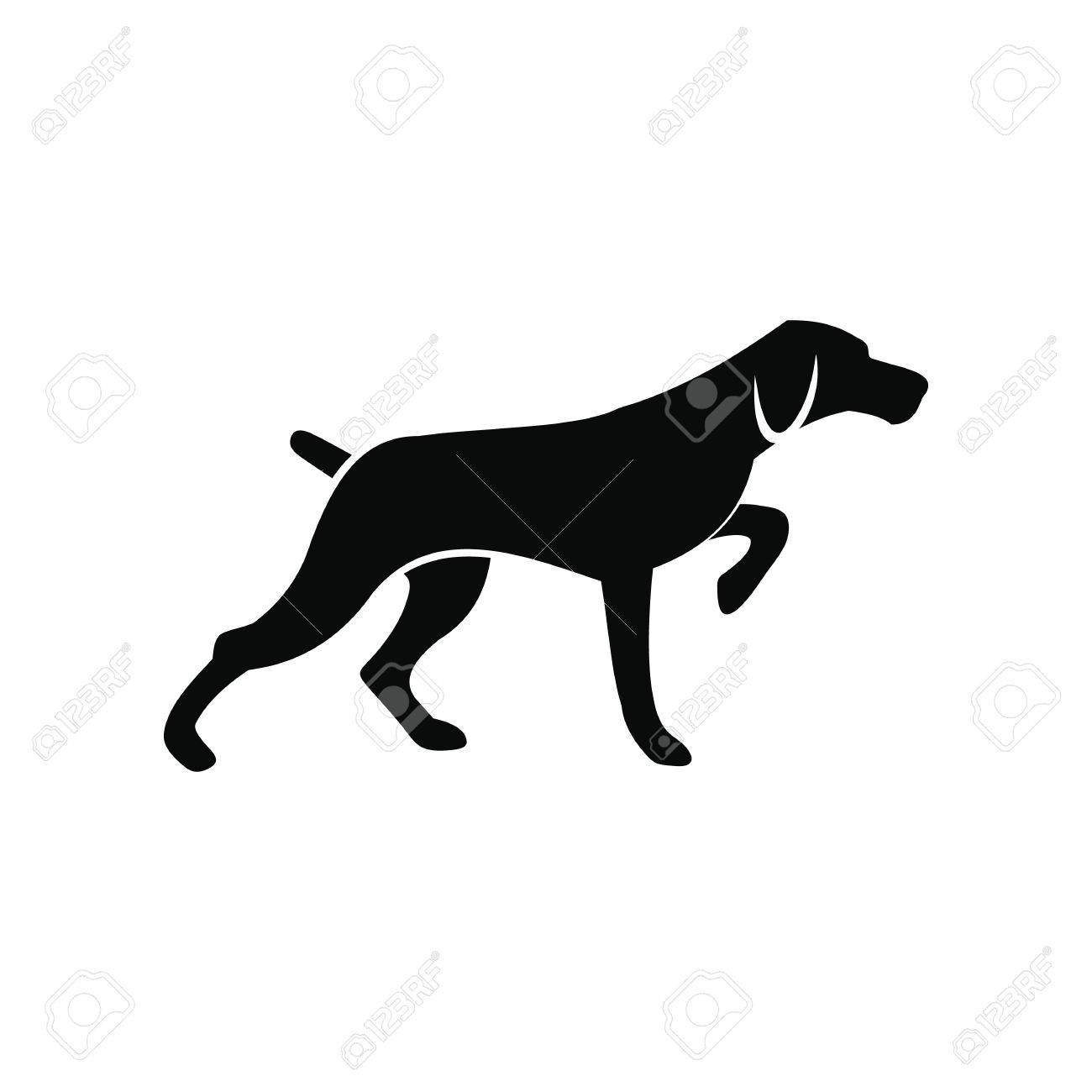Hunting dog black simple icon isolated on white background - 52015997