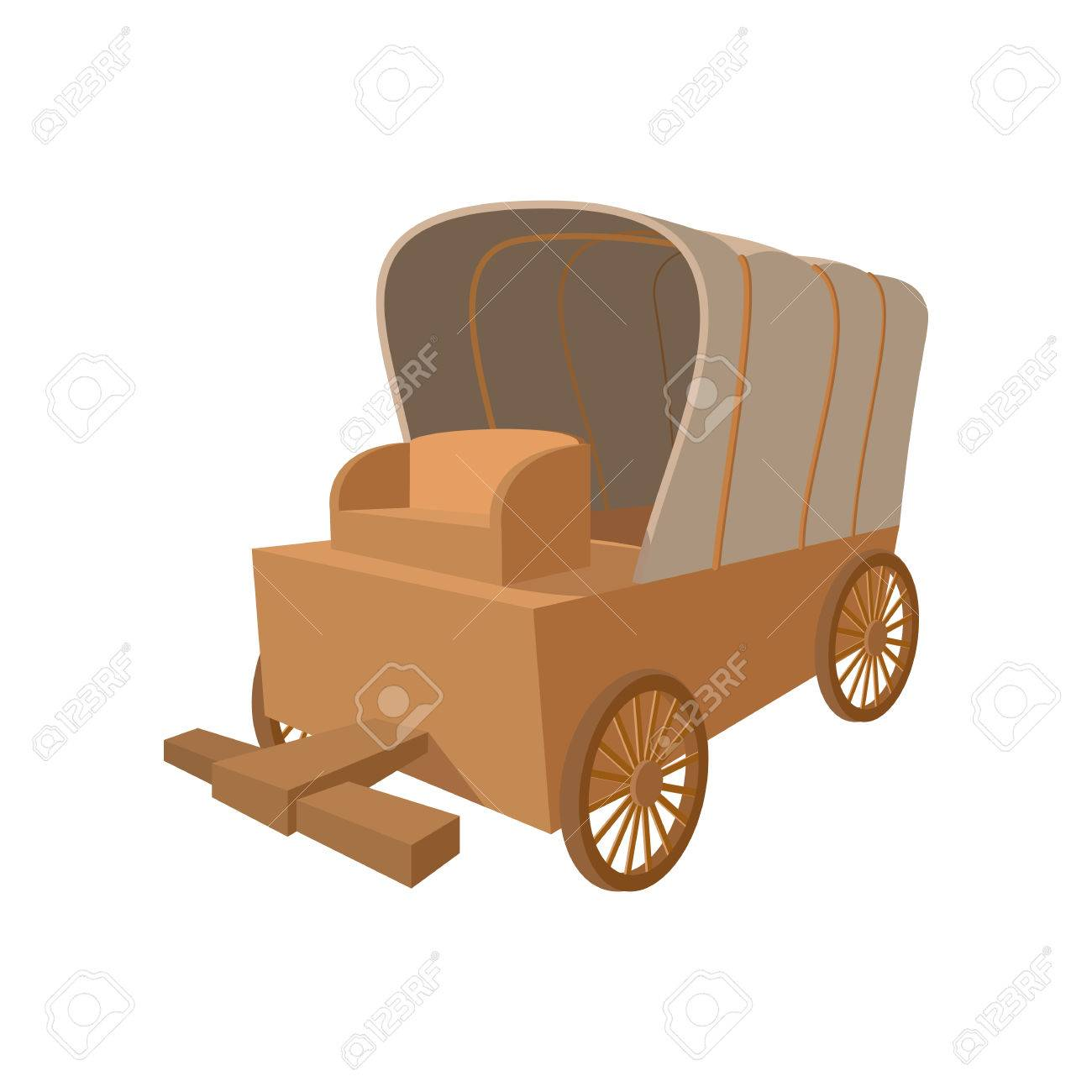 Western Covered Wagon Cartoon Icon On A White Background Royalty ...