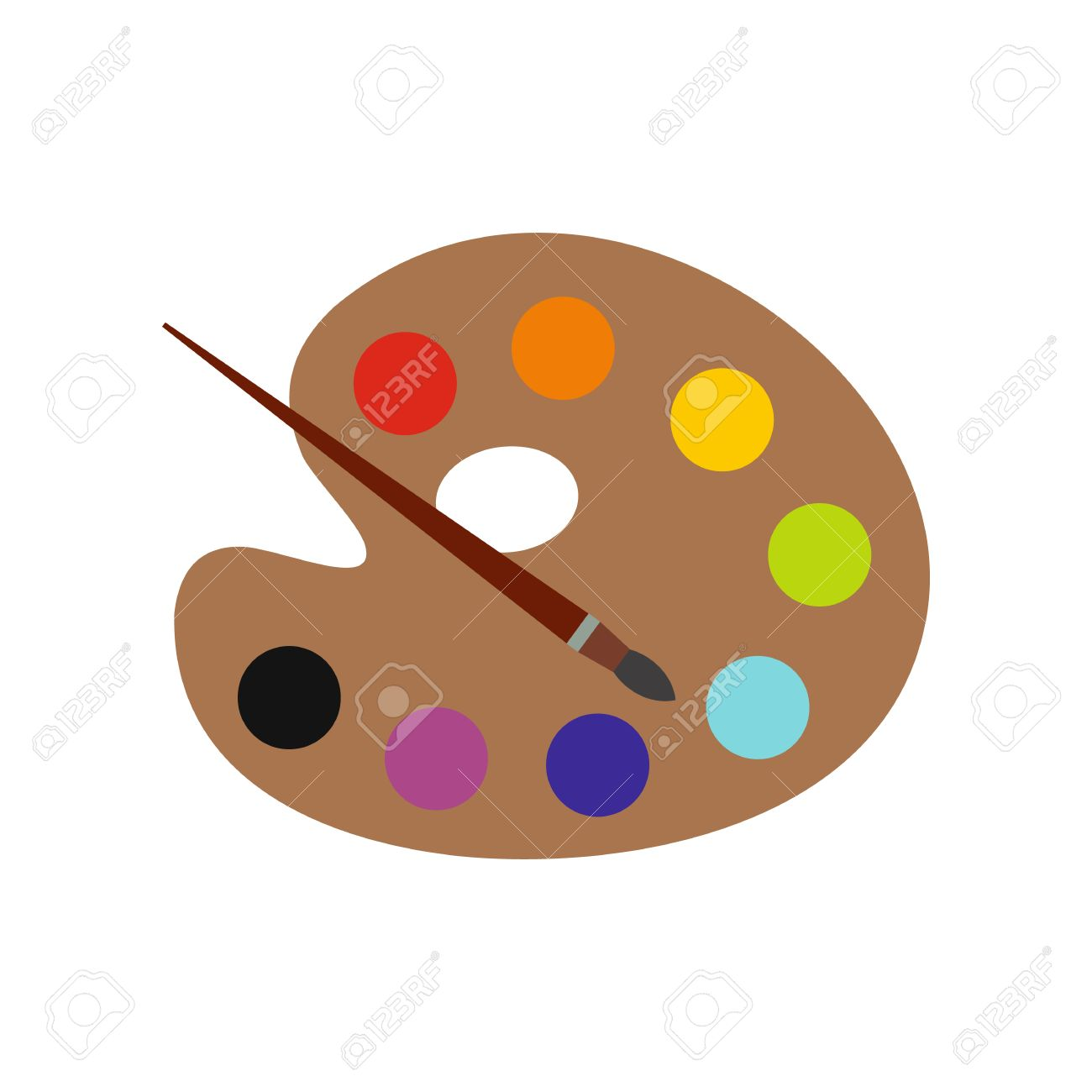 Art Palette With Paint Brush Flat Icon Isolated On White Background Stock Vector