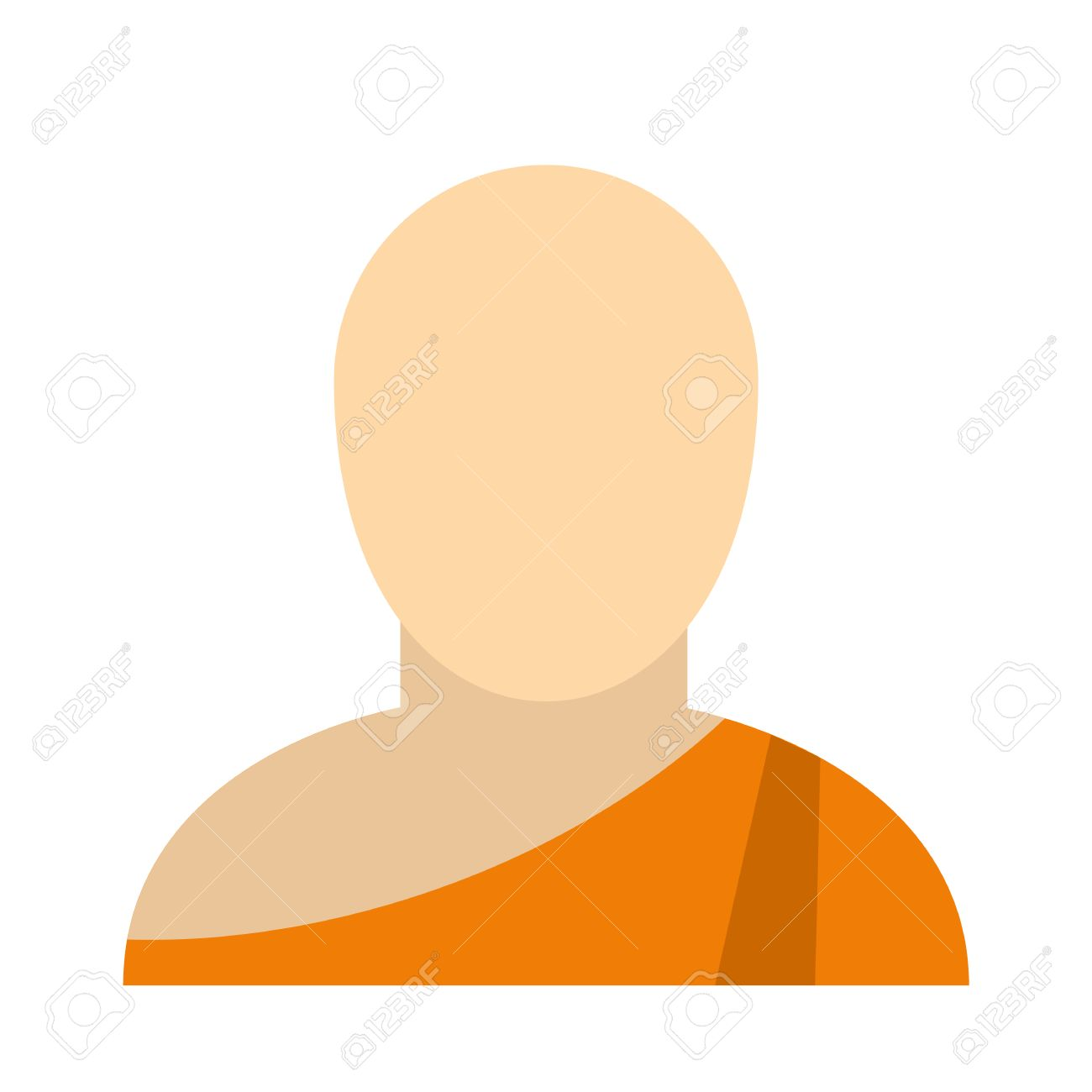 Buddhist Monk Flat Icon Isolated On White Background Royalty Free
