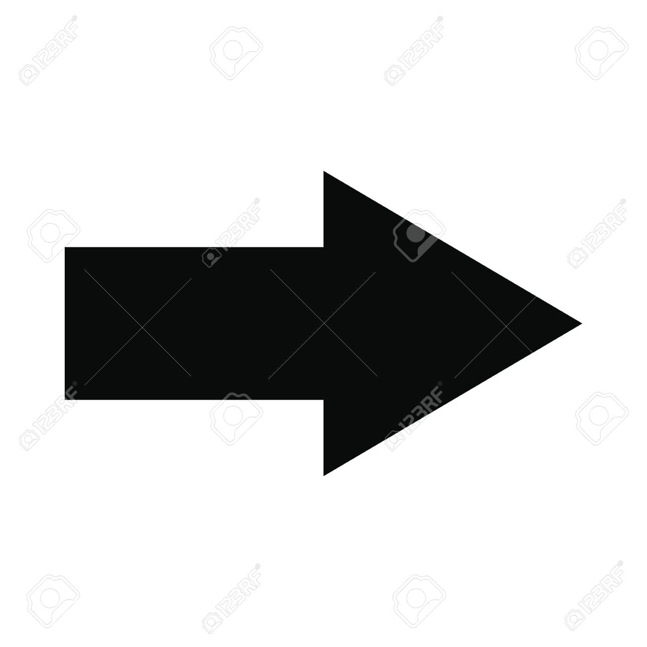 Right arrow black simple icon isolated on white background - 51973336