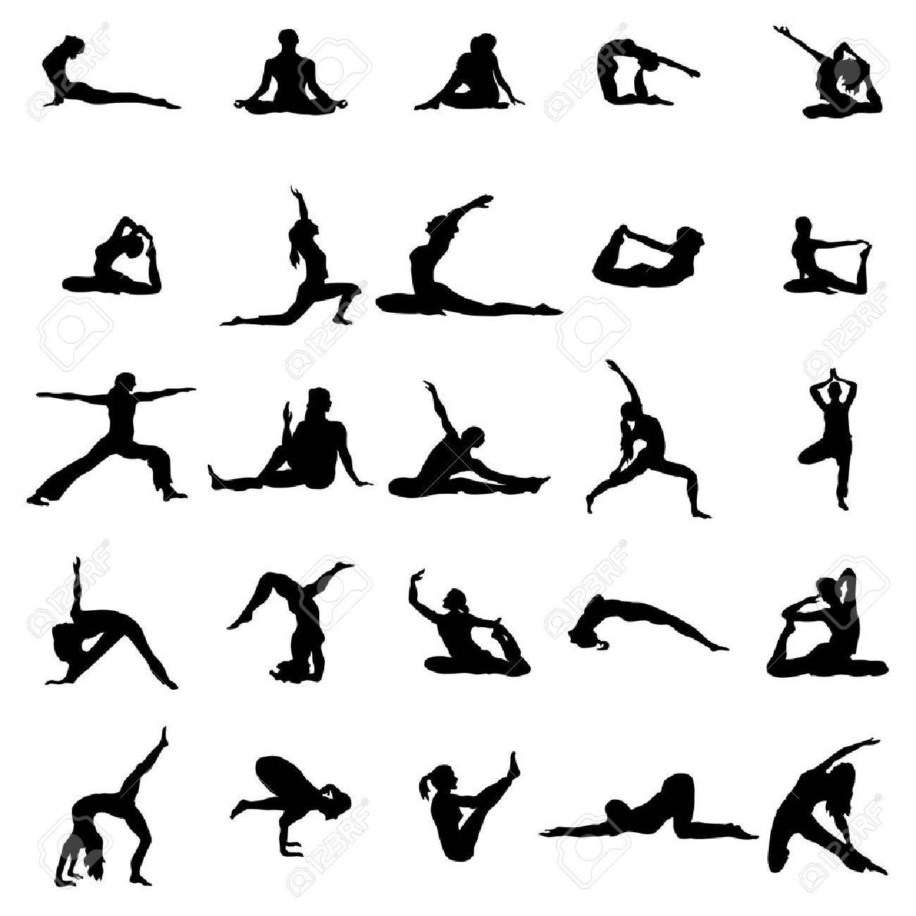 Yoga silhouette set isolated on white background Banque d'images - 51979770