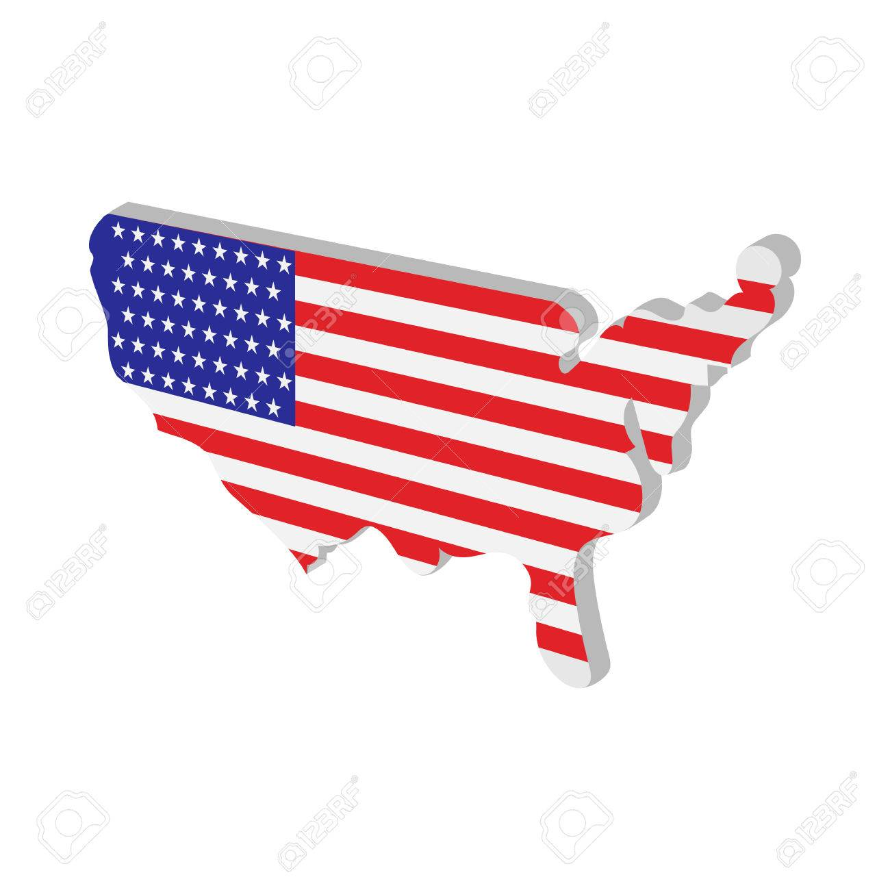 USA Map With American Flag Texture Cartoon Icon On White - Us map american flag
