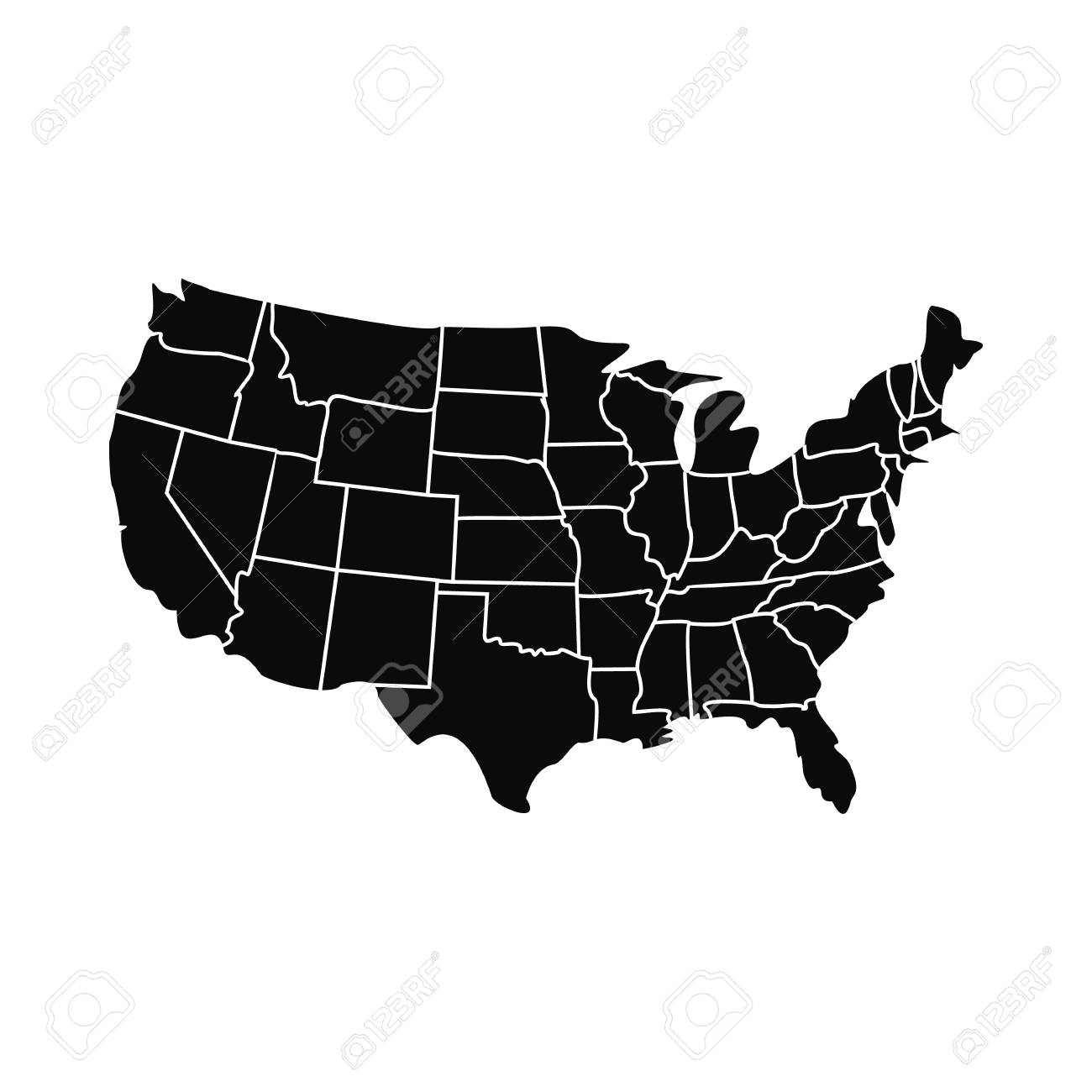 Usa Map With States Icon Black Simple Style