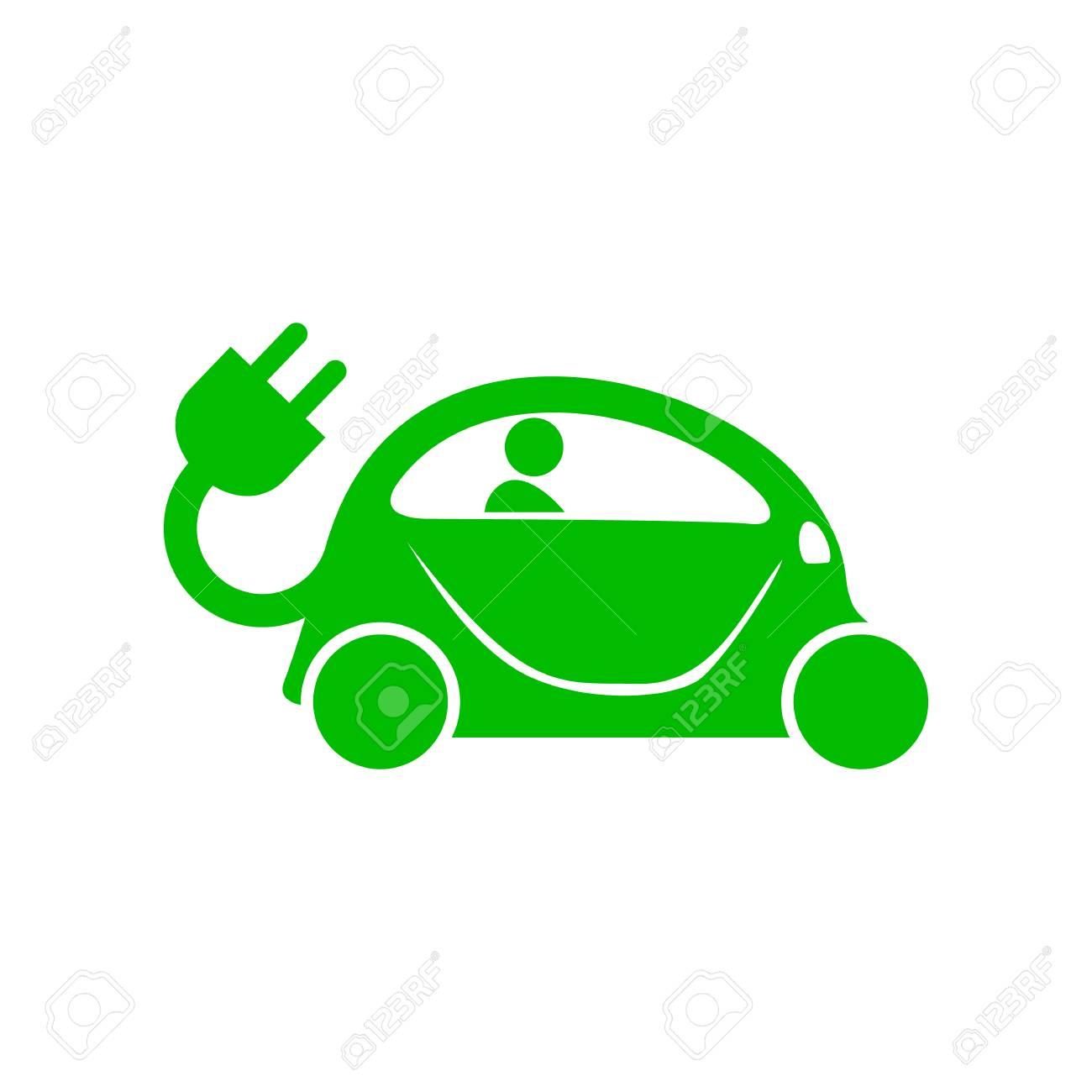 Grüne Elektro-Auto-Symbol Im Einfachen Stil Auf Einem Weißen ...