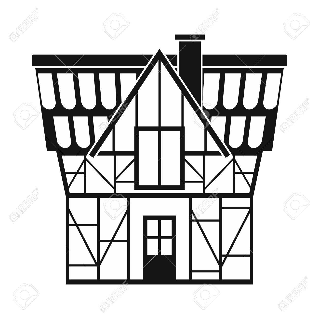Fachwerkhaus In Deutschland Symbol In Einfachen Stil Isoliert Auf ...