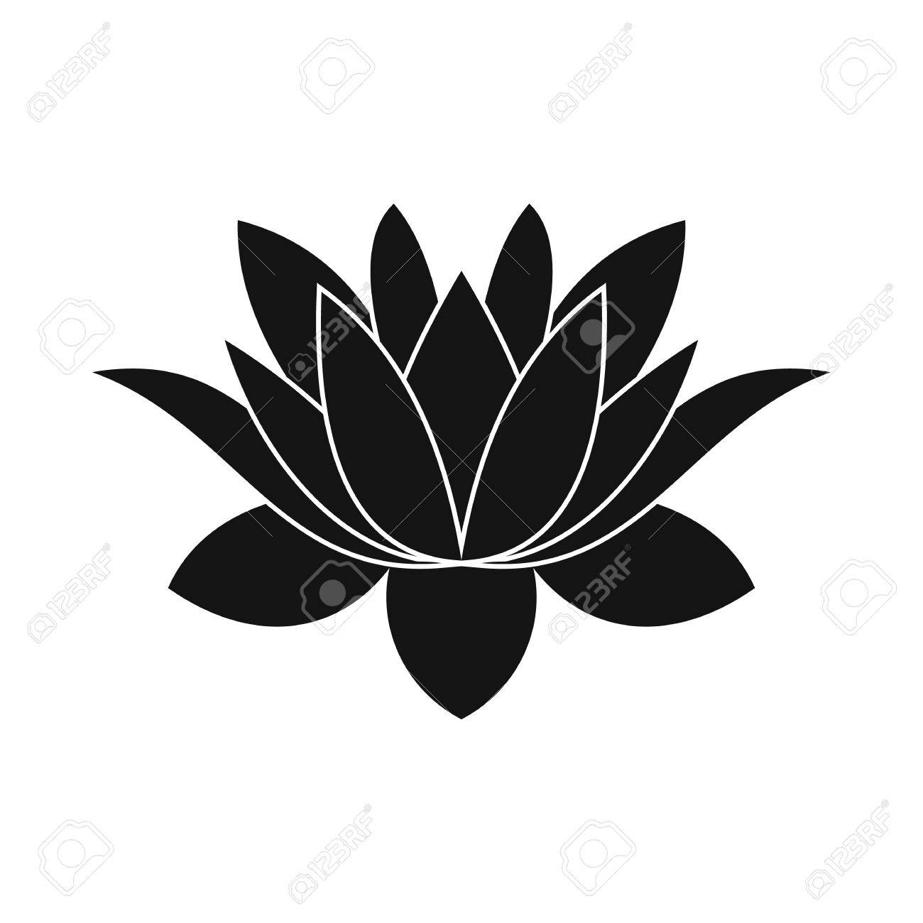 lotus flower icon in simple style isolated on white - 52507959