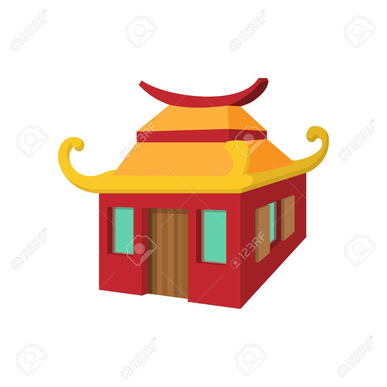 Chinese House In Cartoon Style Isolated On White Background