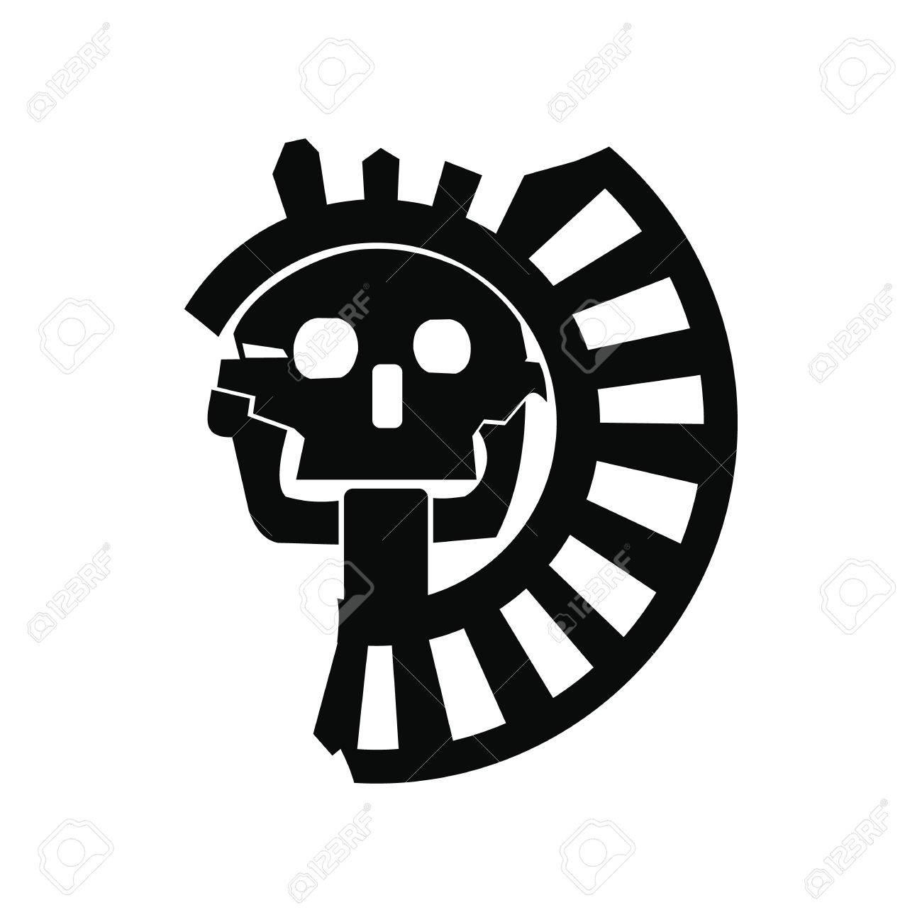 Cráneo Del Dios De La Muerte Del Icono Aztecas En Estilo Simple
