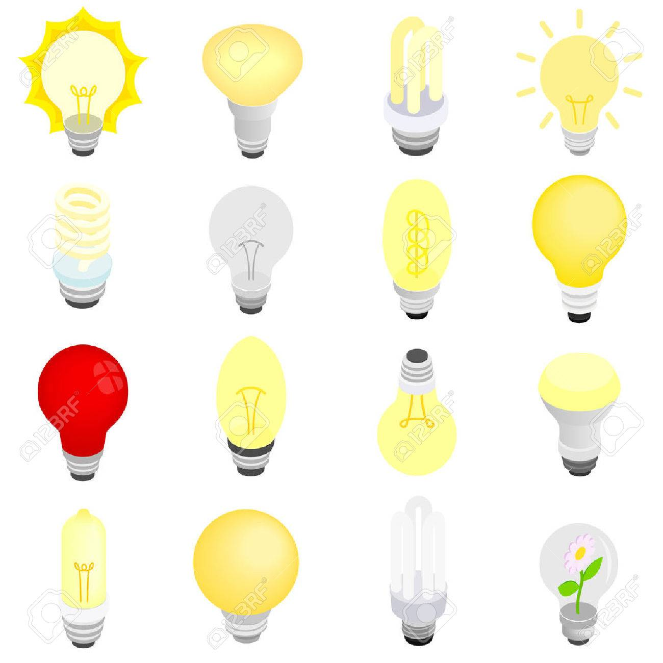 Light bulbs icons in isometric 3d style isolated on white - 52995565
