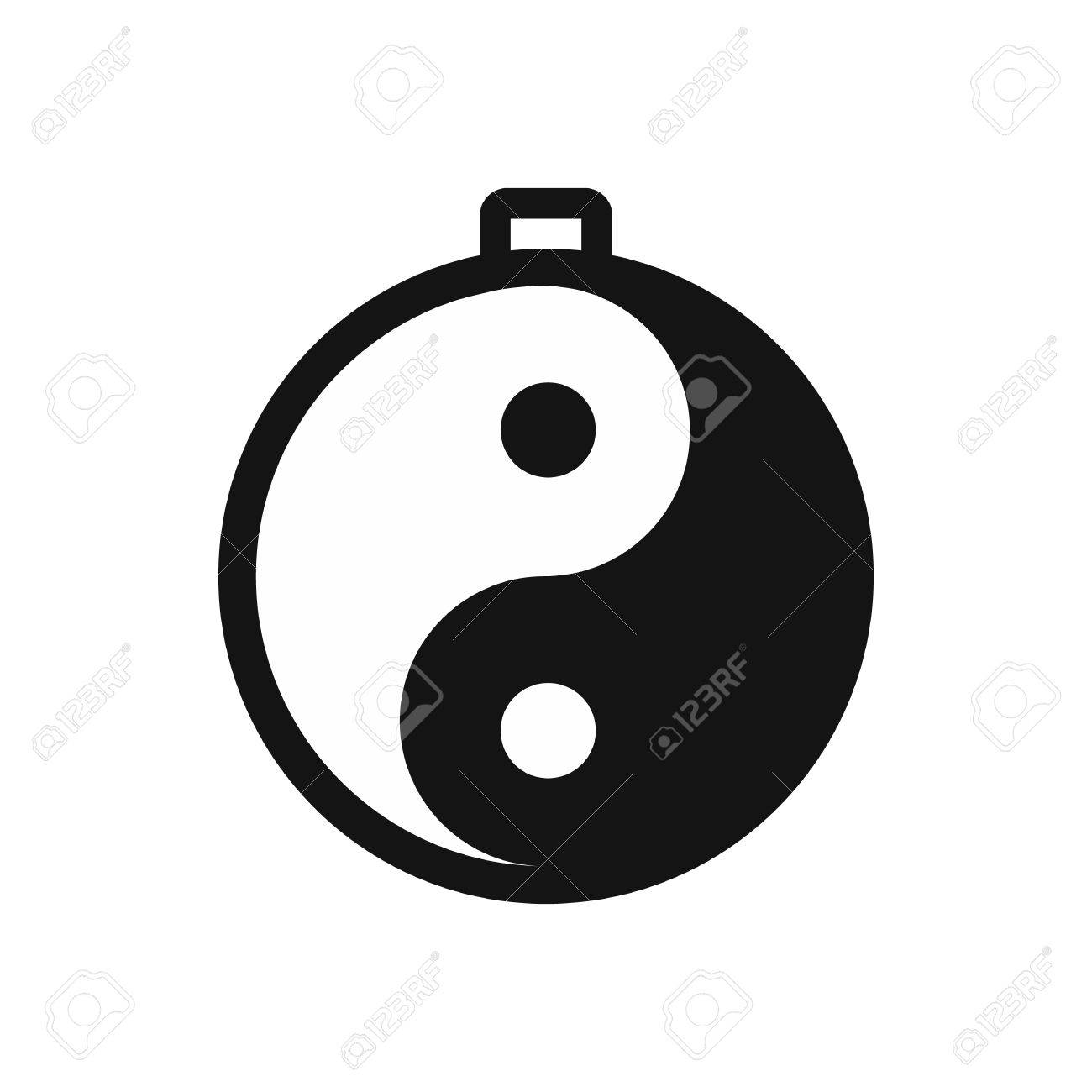 amulet of yin yang icon in simple style isolated on white royalty rh 123rf com Cool Yin Yang Designs Yin Yang Border
