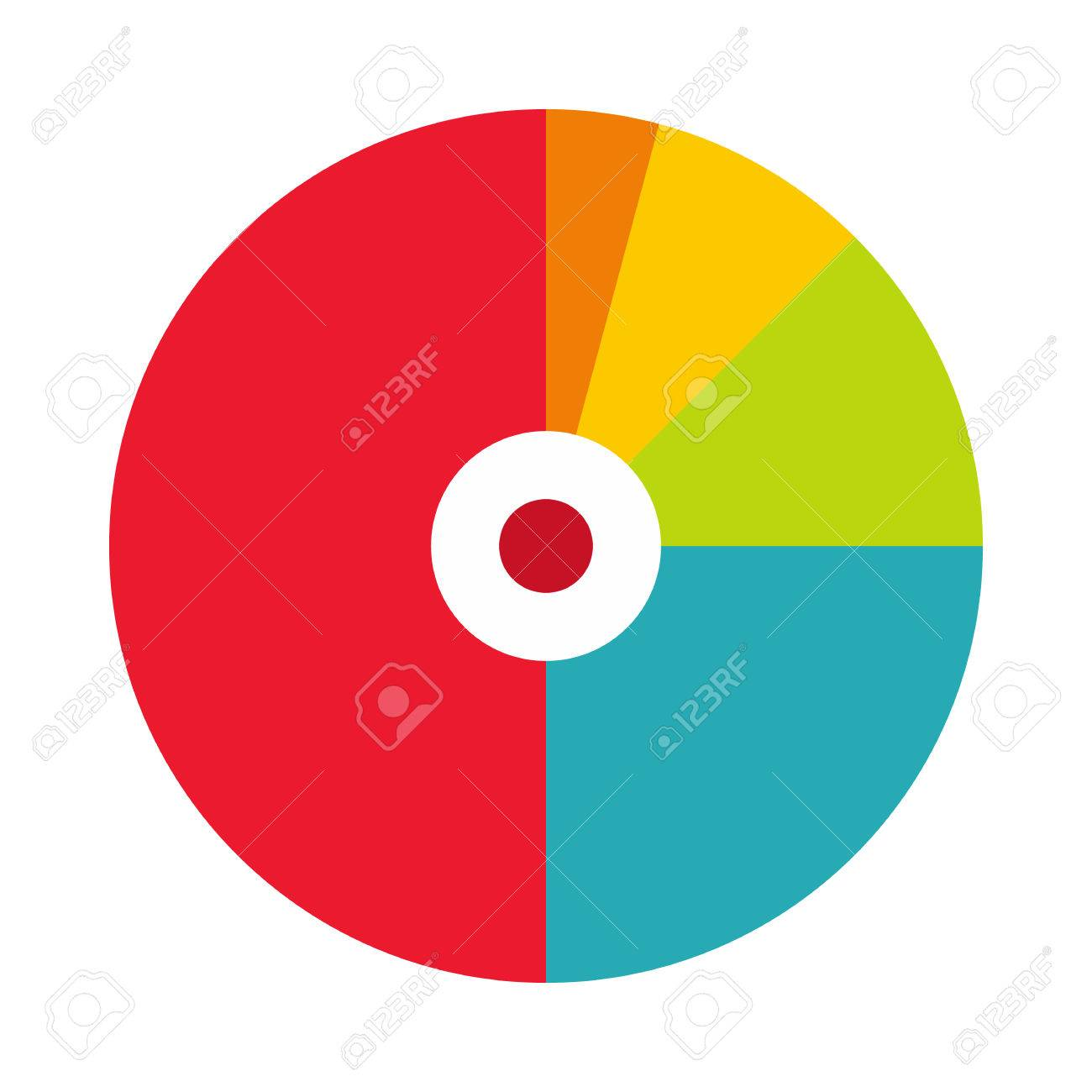 Pie chart with a hole in the center icon in flat style on a white background Banque d'images - 53345293