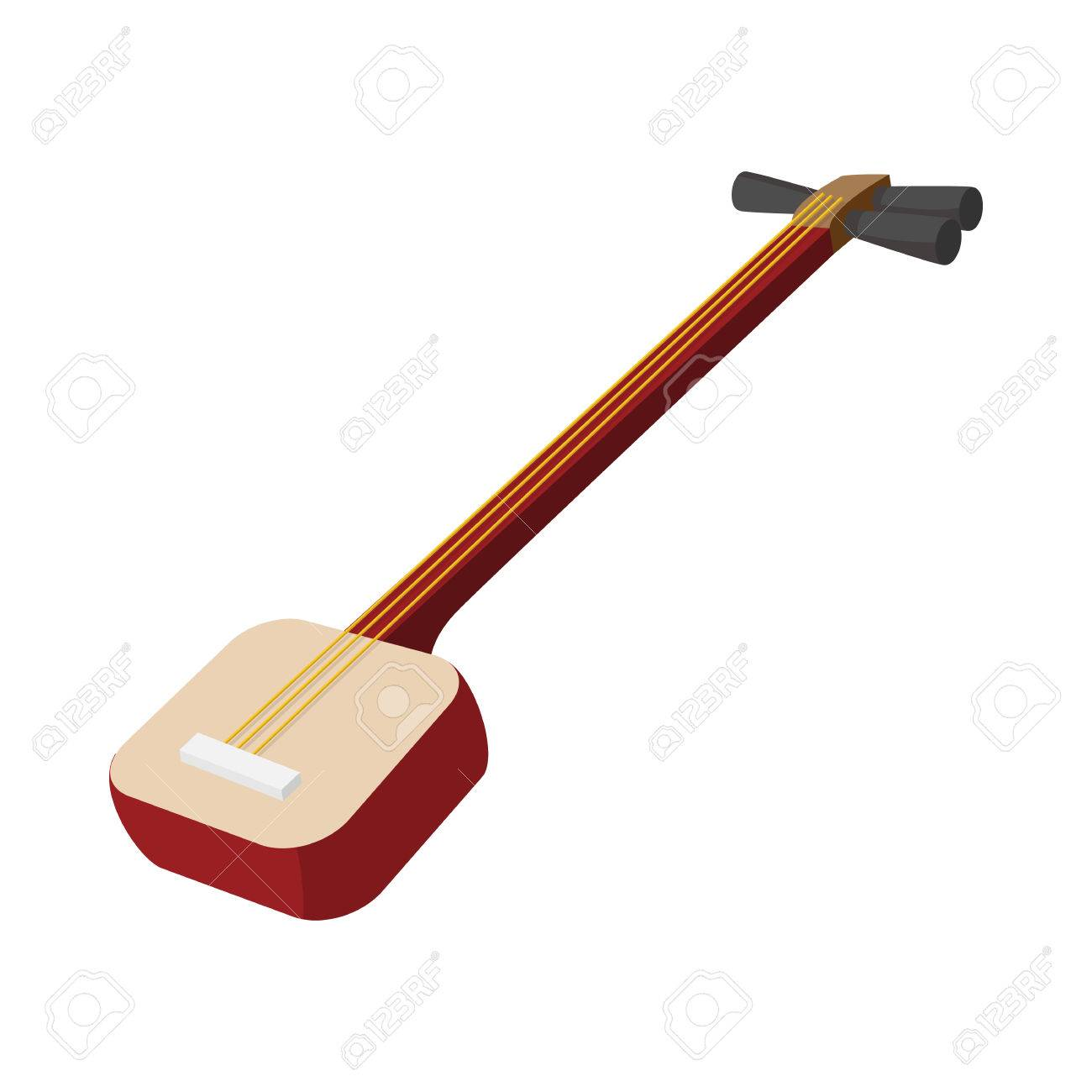 Shamisen Icon On White Background In Cartoon Style Japanese Royalty Free Cliparts Vectors And Stock Illustration Image 53346508