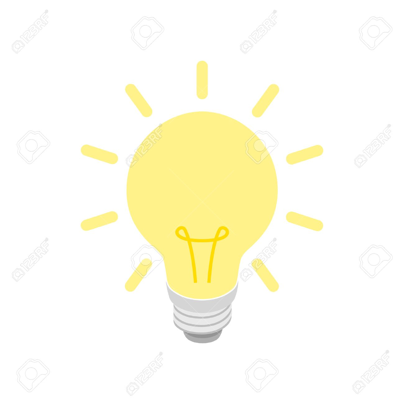 Glowing yellow light bulb icon in isometric 3d style on a white background - 53349790