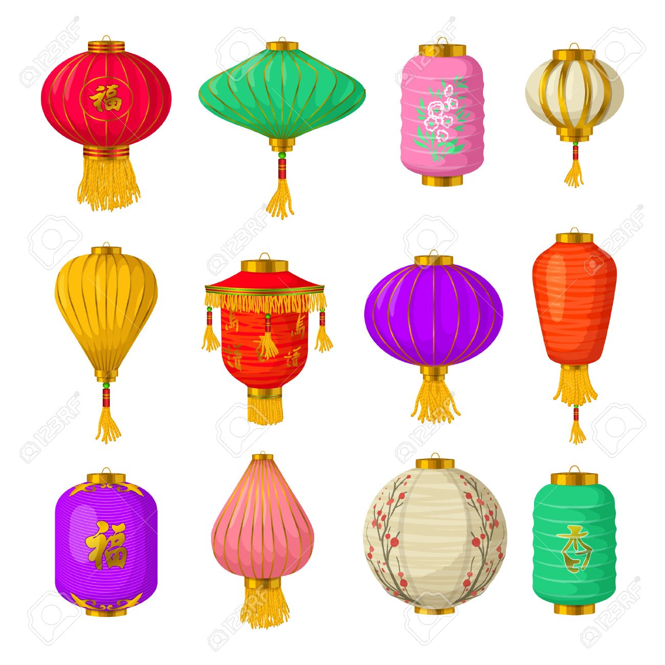 chinese paper lanterns icons set in cartoon style on a white