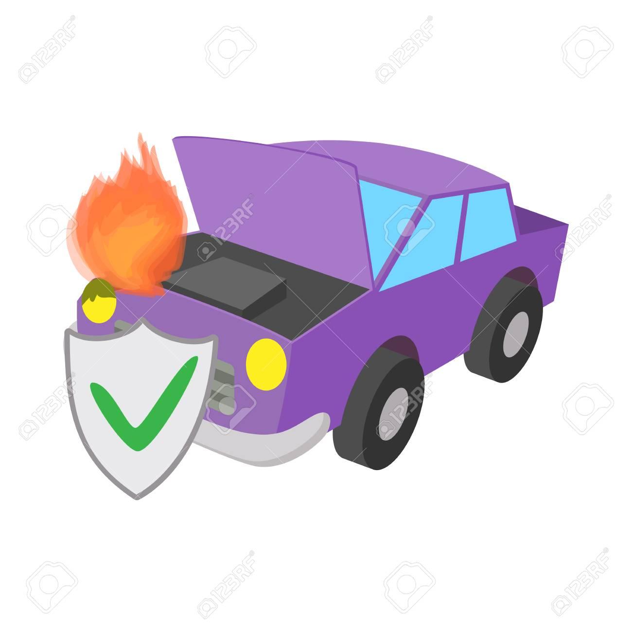 Auto Gefeuert Kfz Versicherung Symbol Im Cartoon Stil Auf Einem