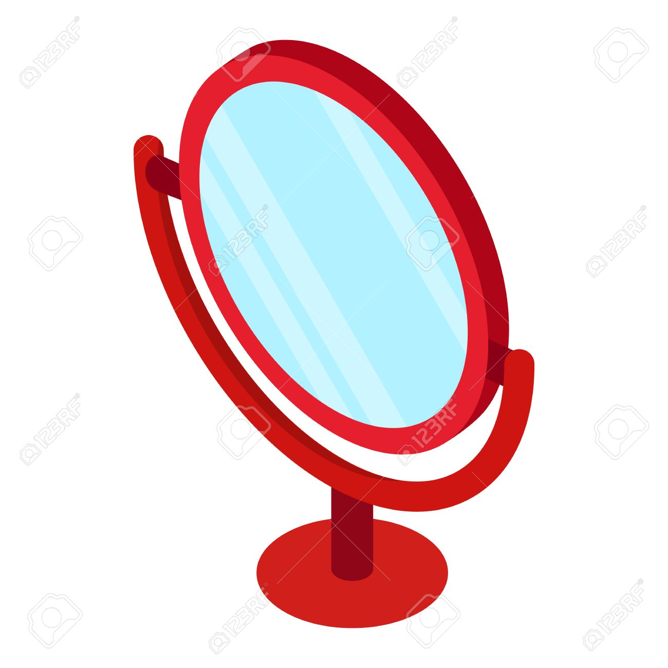 Red Round Table Mirror Icon In Isometric 3d Style Isolated On White  Background Stock Vector