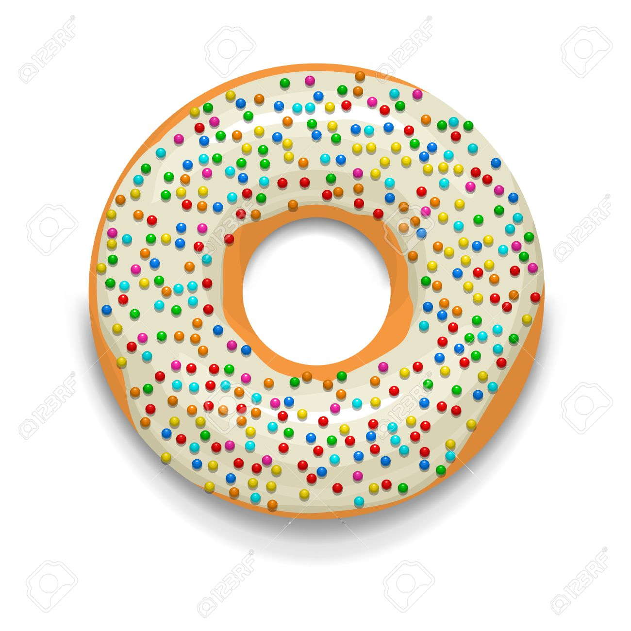 Glasierte Donut Mit Süßigkeiten Symbol Im Cartoon Stil Auf Einem ...