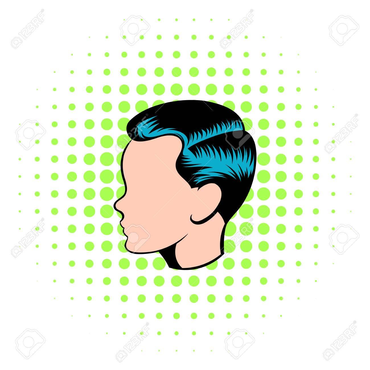 Mens Frisur Symbol Im Comic Stil Auf Einem Weissen Hintergrund
