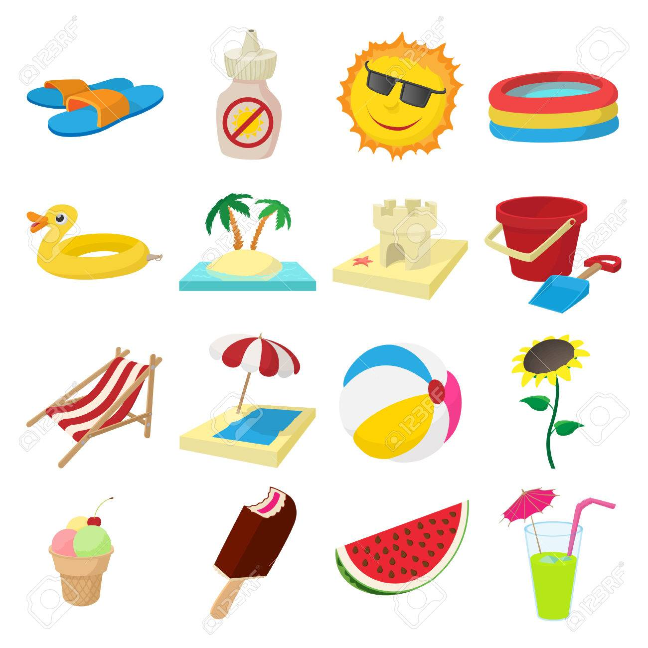 summer icons set in cartoon style on a white background royalty free cliparts vectors and stock illustration image 53980144 summer icons set in cartoon style on a white background