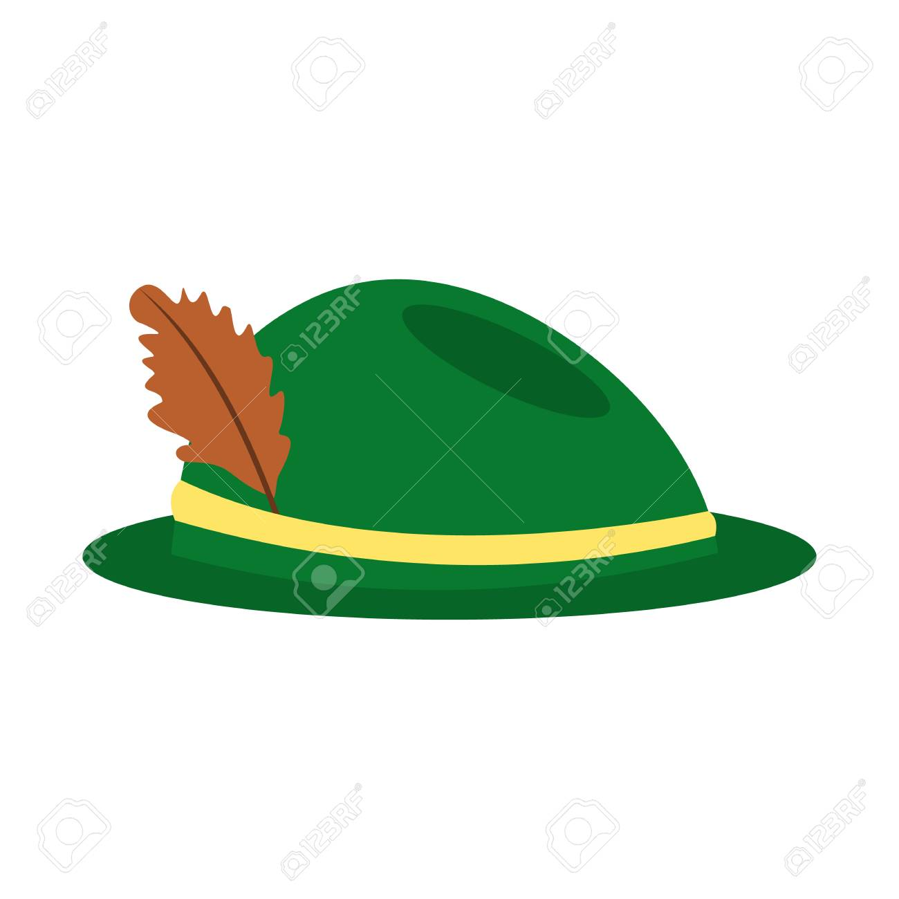 eb20c829456 Green hat with a feather icon in flat style isolated on white background  Stock Vector -