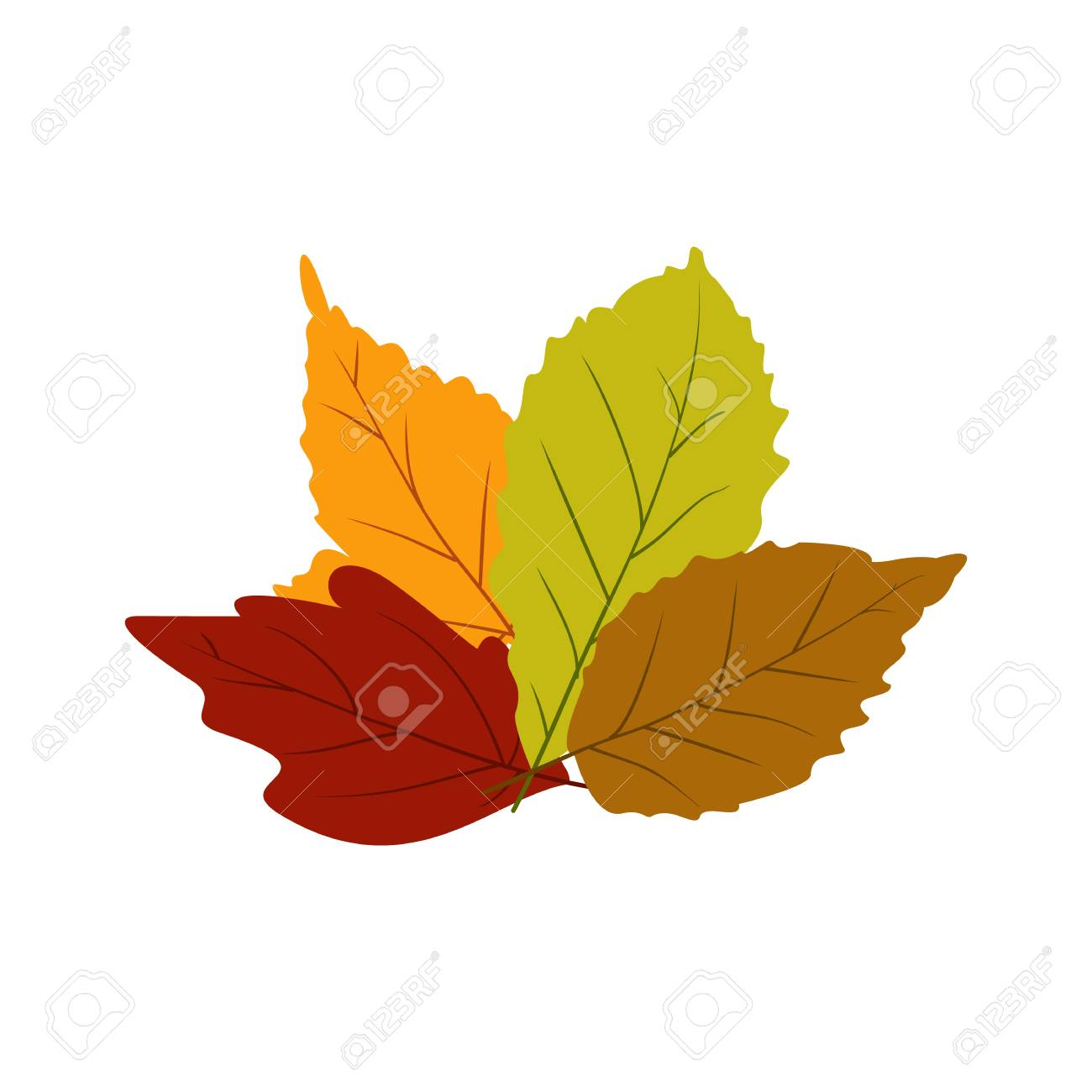 Autumn Leaves Icon In Flat Style Isolated On White Background Royalty Free Cliparts Vectors And Stock Illustration Image 54171736