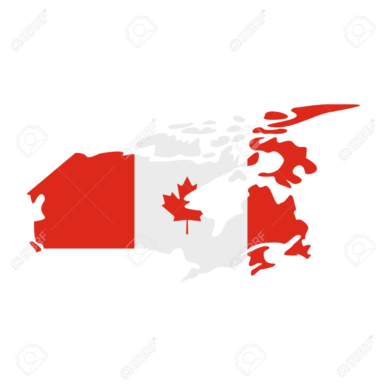 Map Of Canada With The Image Of The National Flag Icon In Flat - Canada map with flag