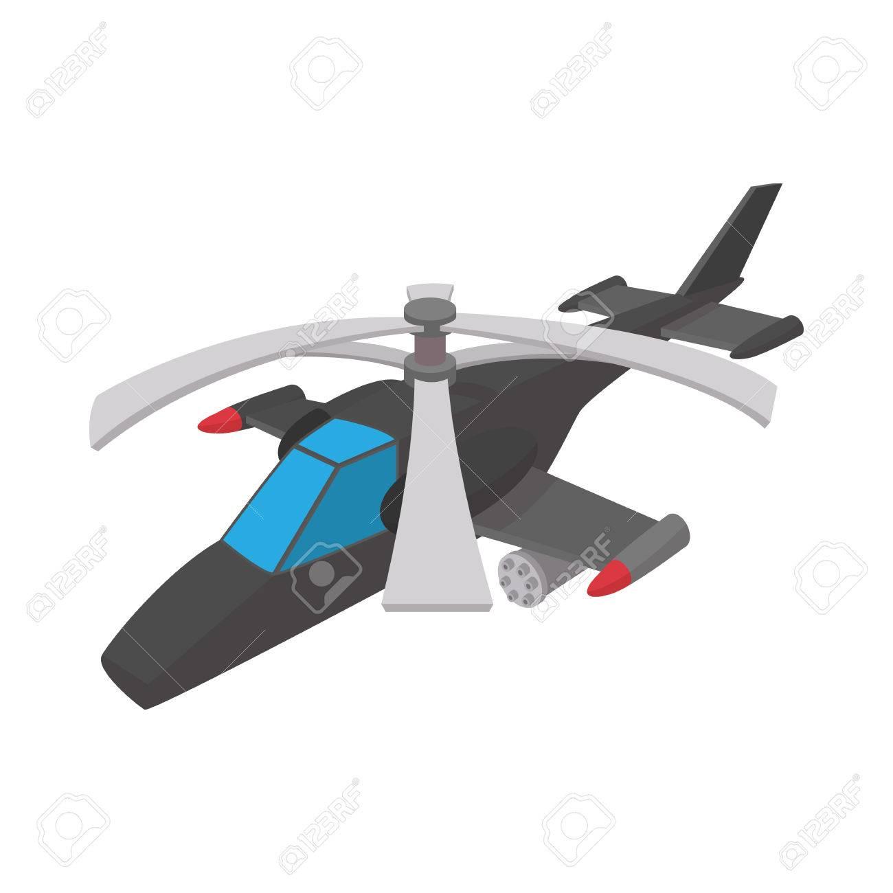Icono De Helicóptero Militar En Estilo De Dibujos Animados Sobre Un ...