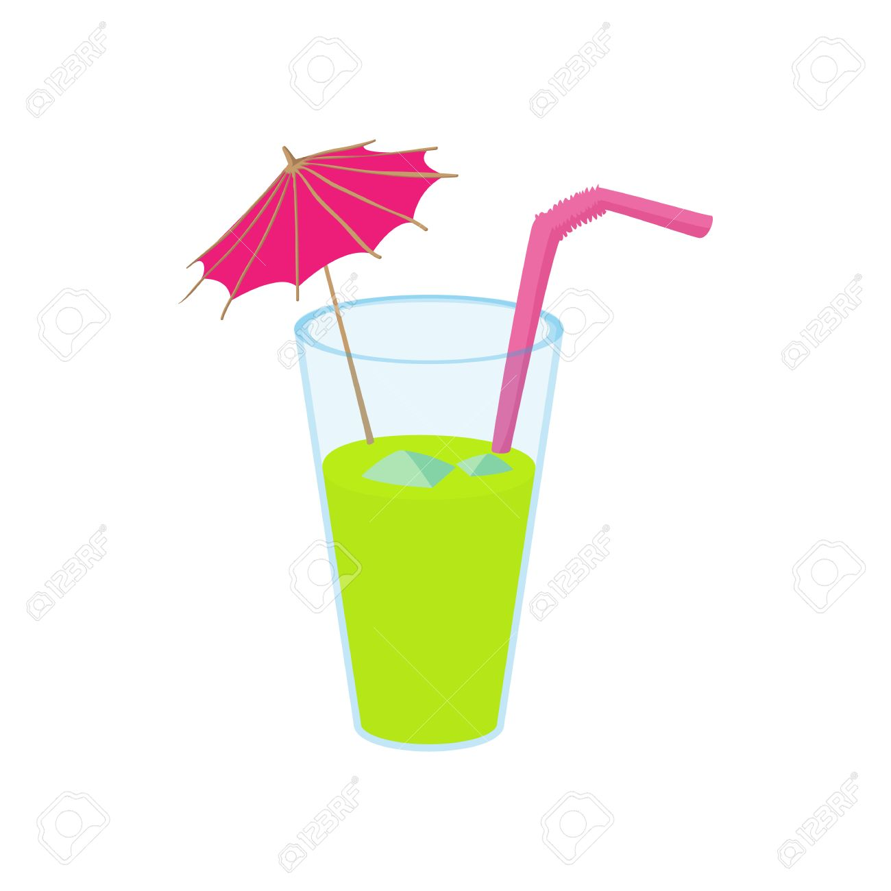 Green Cocktail With Umbrella Icon In Cartoon Style On A White Royalty Free Cliparts Vectors And Stock Illustration Image 54305141