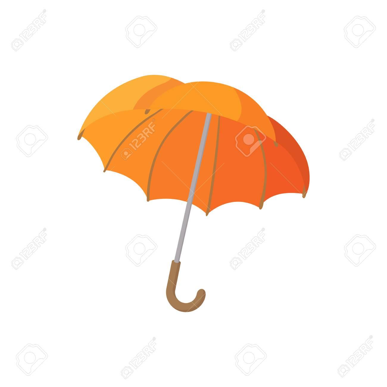 Open Orange Umbrella Icon In Cartoon Style On A White Background ...