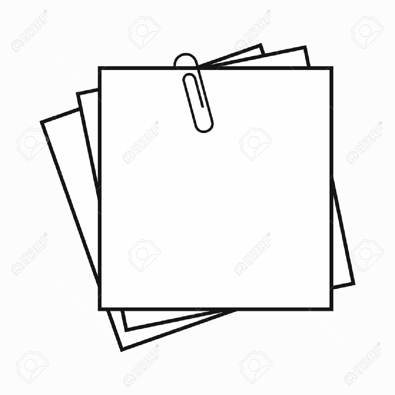 sheet of paper for notes and paper clip icon in simple style