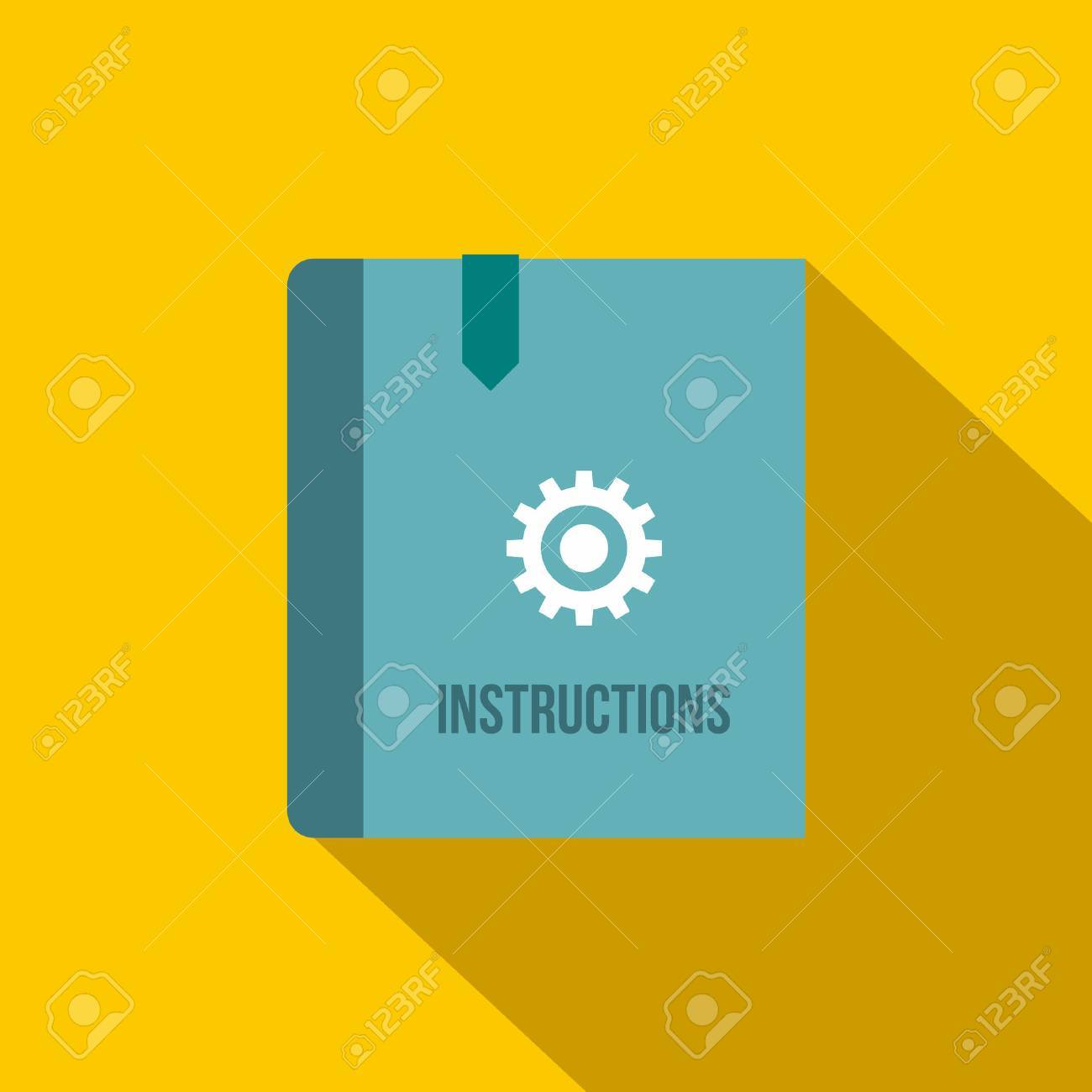 Instruction book icon in flat style on a yellow background - 55304723