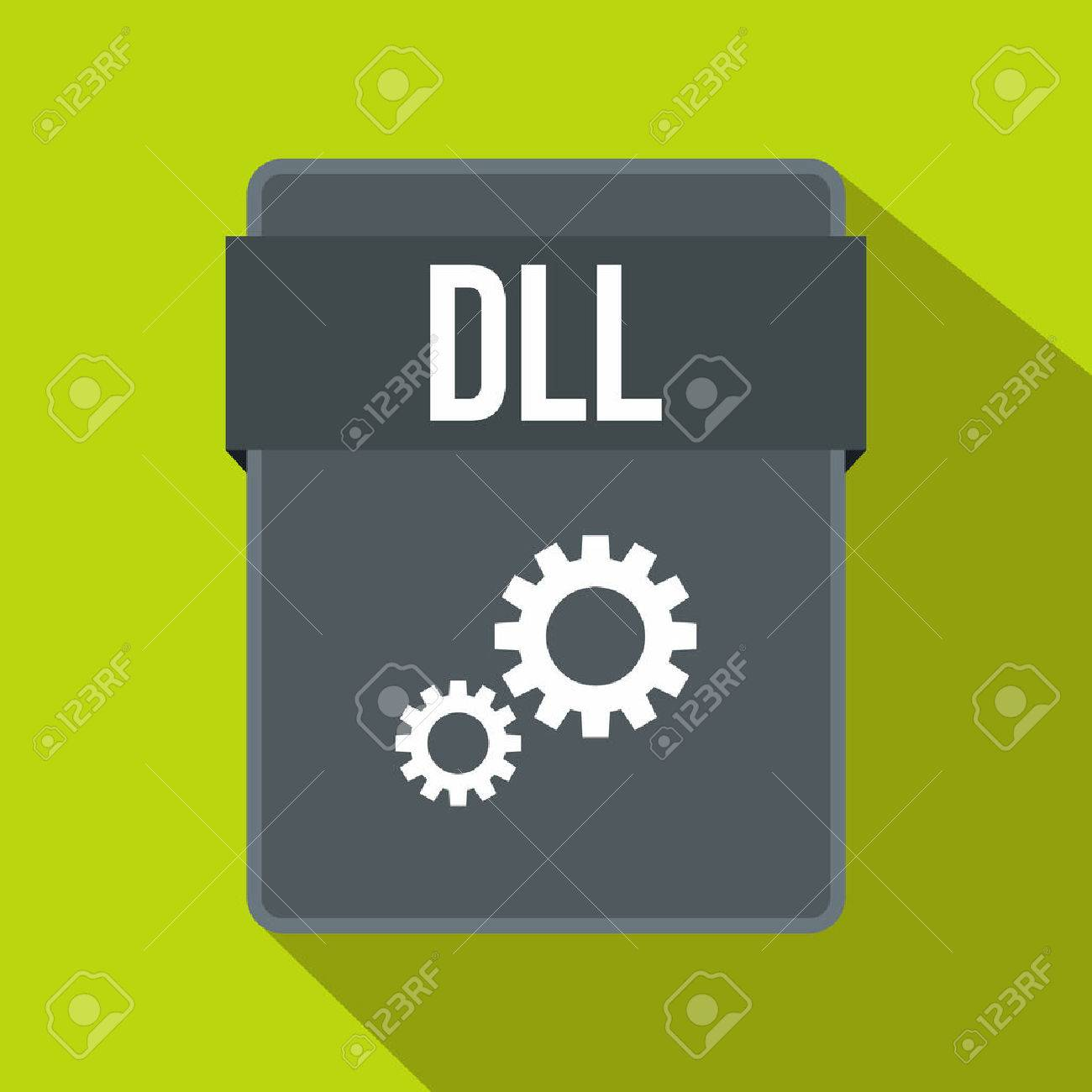 DLL file icon in flat style on a green background - 61121488