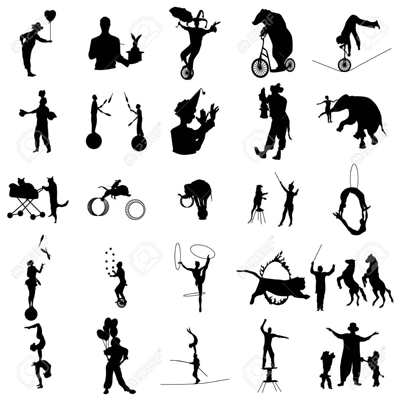 Circus silhouette set in simple style on a white background - 55956563