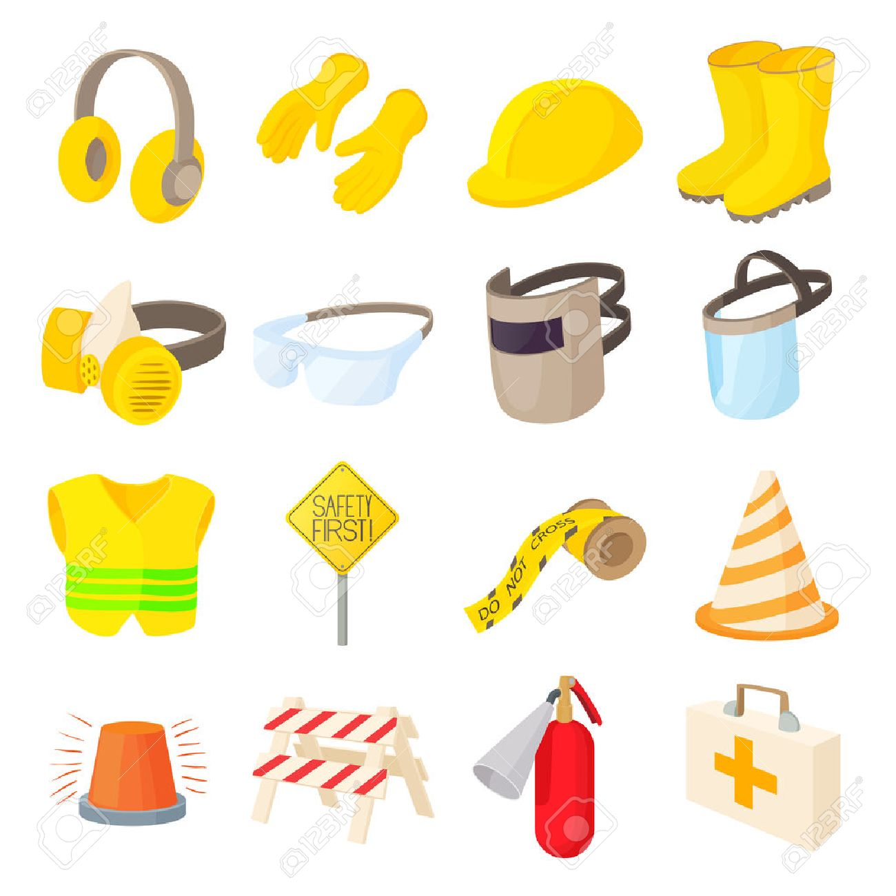Safety icons set in cartoon style on a white background - 55956583