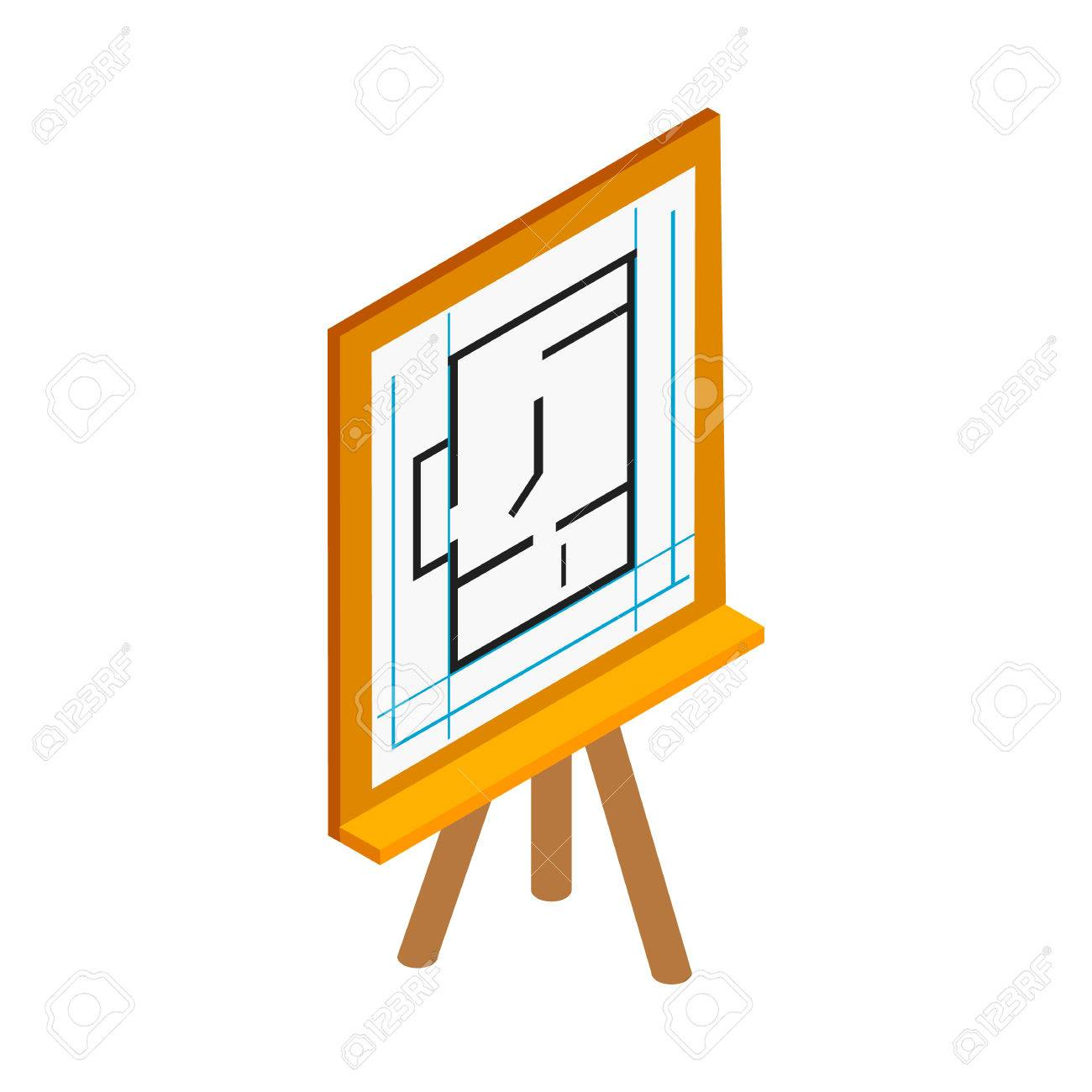 Flipchart With Building Plan Icon In Isometric 3d Style On A
