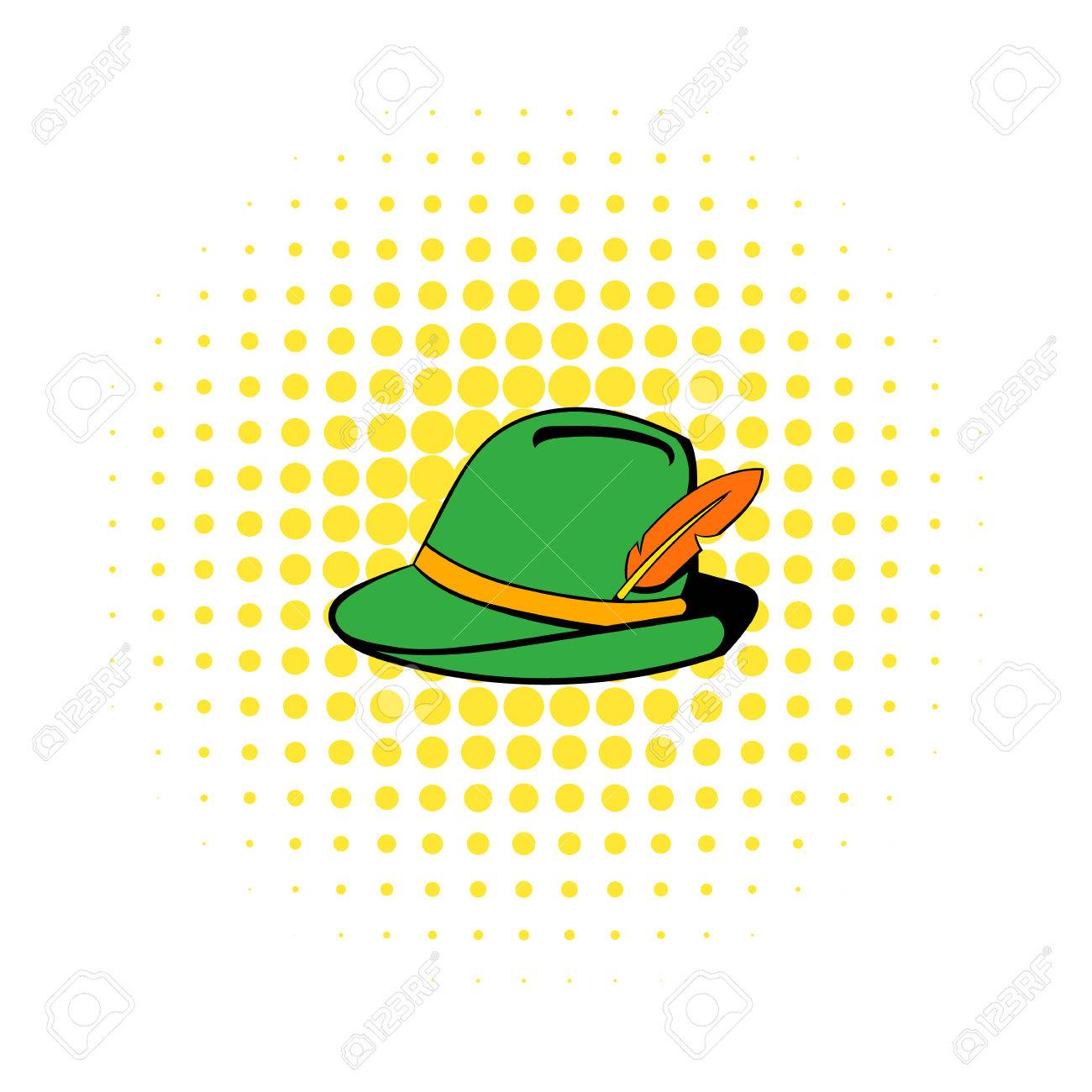 f573994ec84 Green hat with feather icon in comics style on a white background Stock  Vector - 56308865