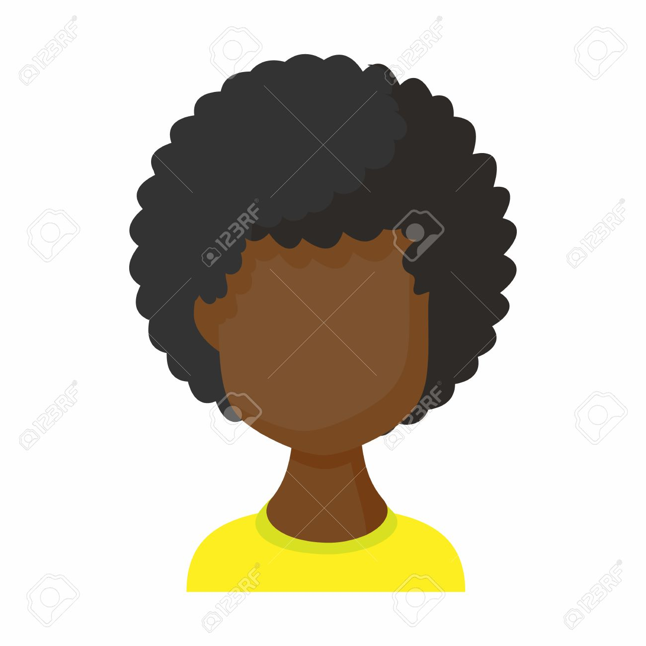 Avatar Black Woman Icon In Cartoon Style Faceless Girl With