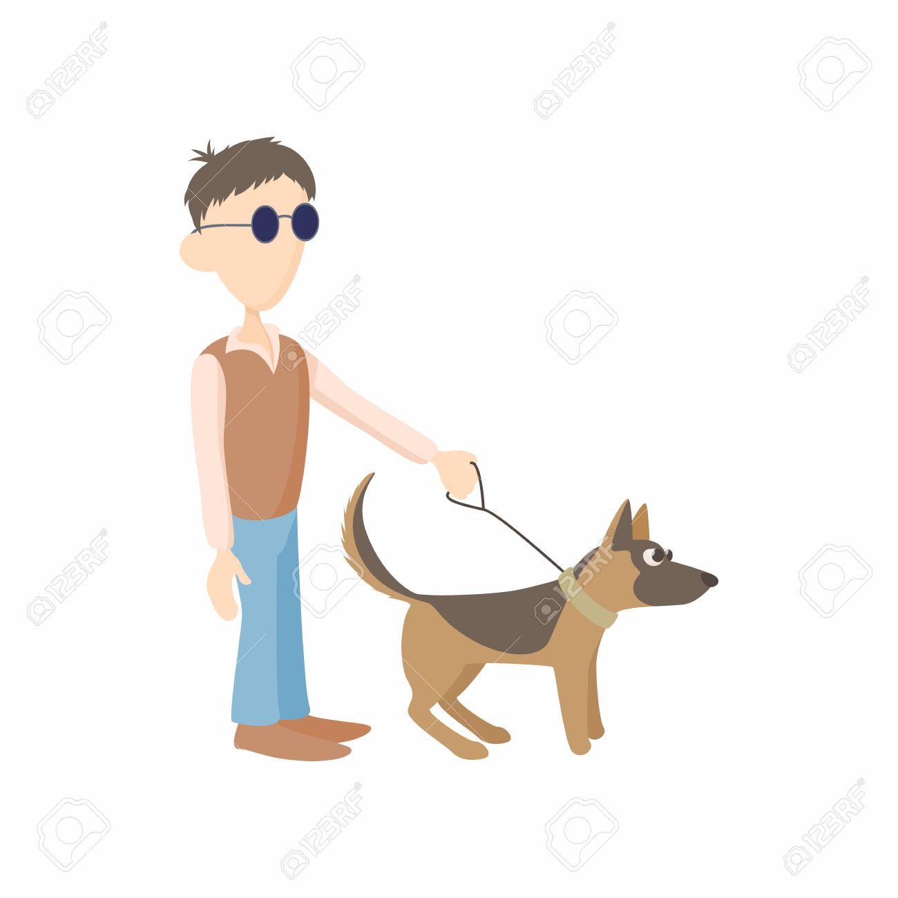 Vettoriale uomo cieco con l icona cane guida in stile cartone