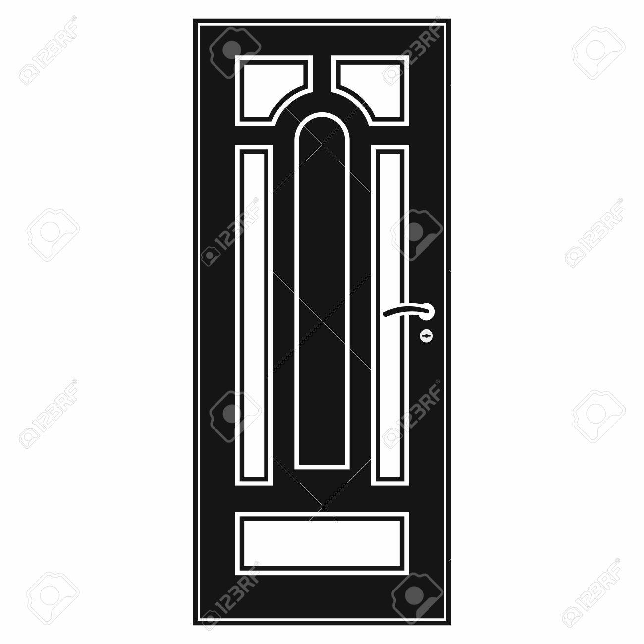 front door clipart black and white. Front Door Icon In Simple Style On A White Background Stock Vector - 57365774 Clipart Black And