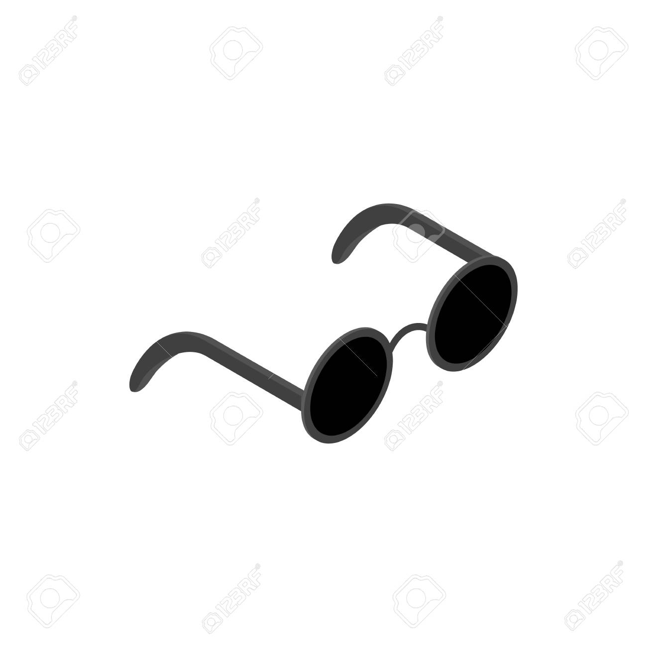 Gafas Con Lentes Redondas Icono Negro En Estilo Isométrica 3d Sobre ...